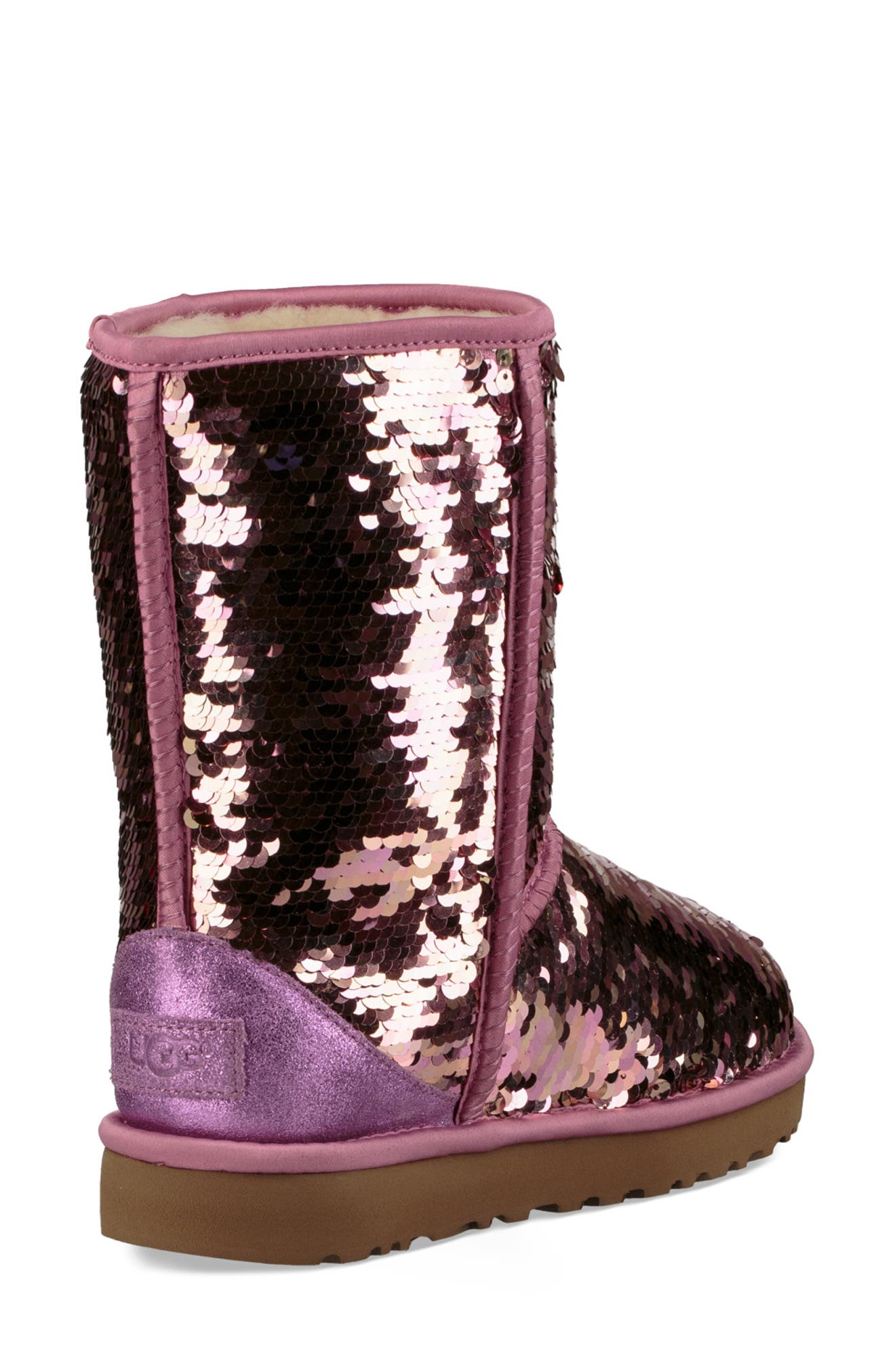UGG<SUP>®</SUP>,                             Classic Short Sequin Boot,                             Alternate thumbnail 2, color,                             PINK