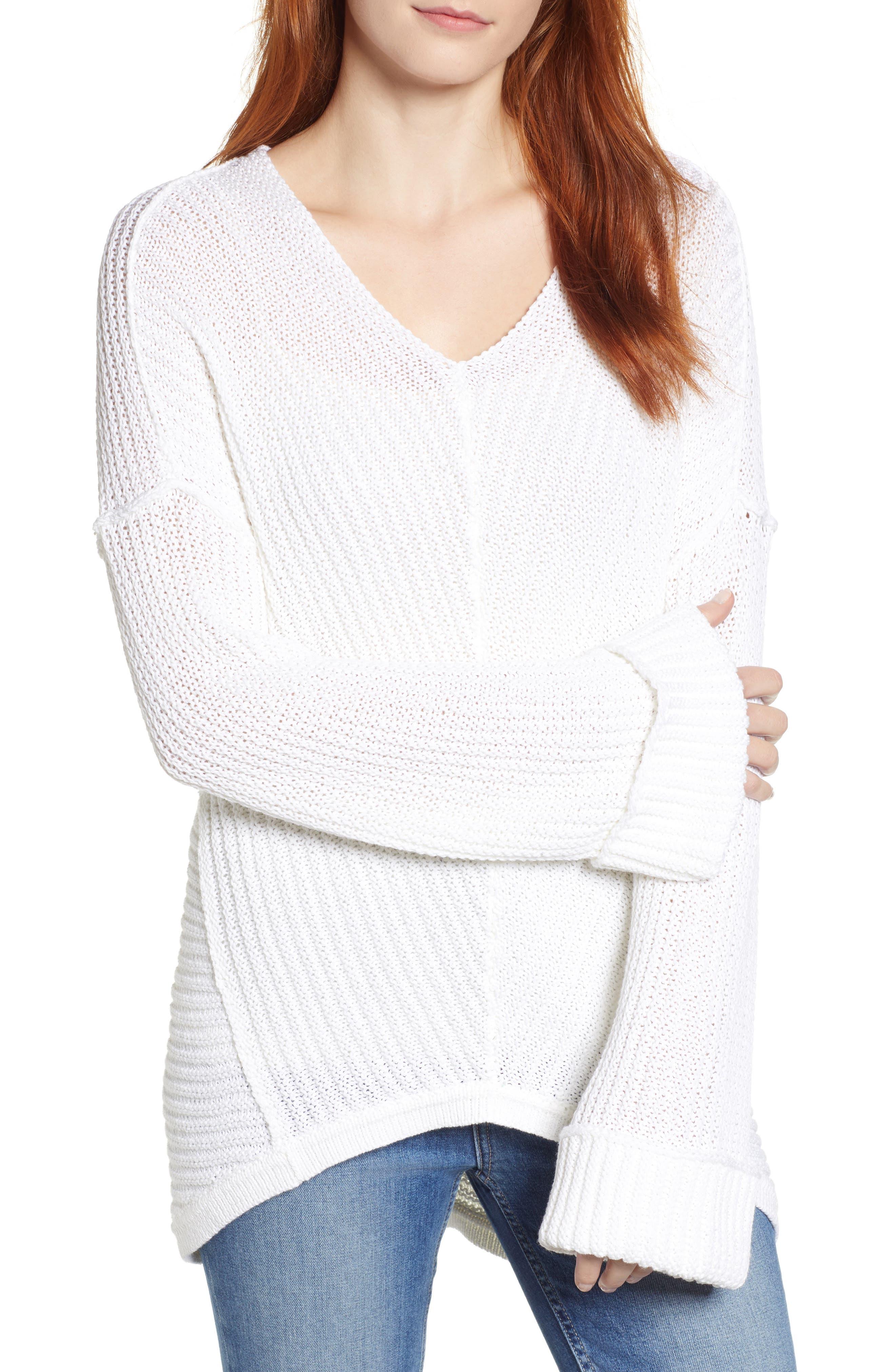 Cuffed Sleeve Sweater,                             Main thumbnail 1, color,                             100