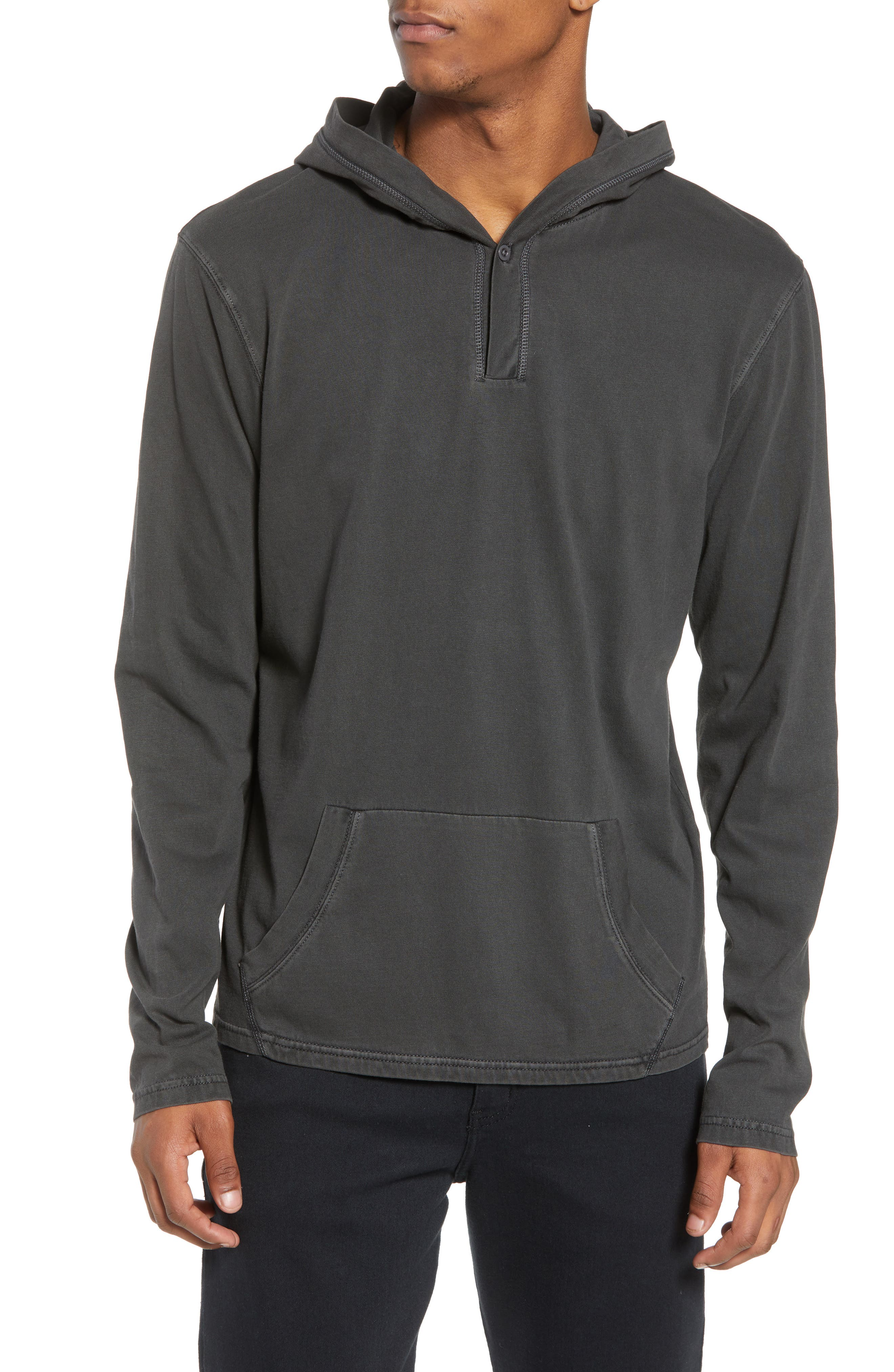 Sunfaded Jersey Hoodie,                             Main thumbnail 1, color,                             BLACK ROCK
