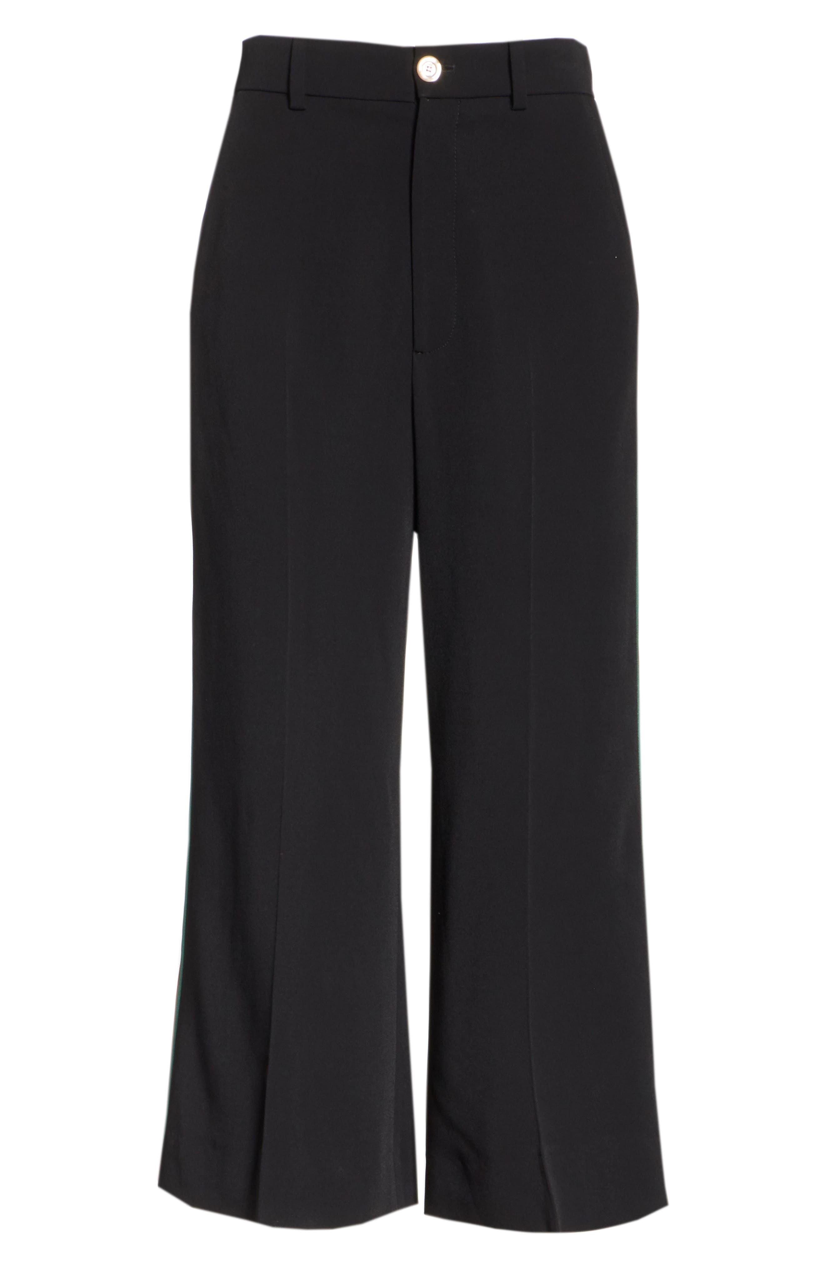 Side Stripe Cady Wide Leg Crop Pants,                             Alternate thumbnail 4, color,                             BLACK