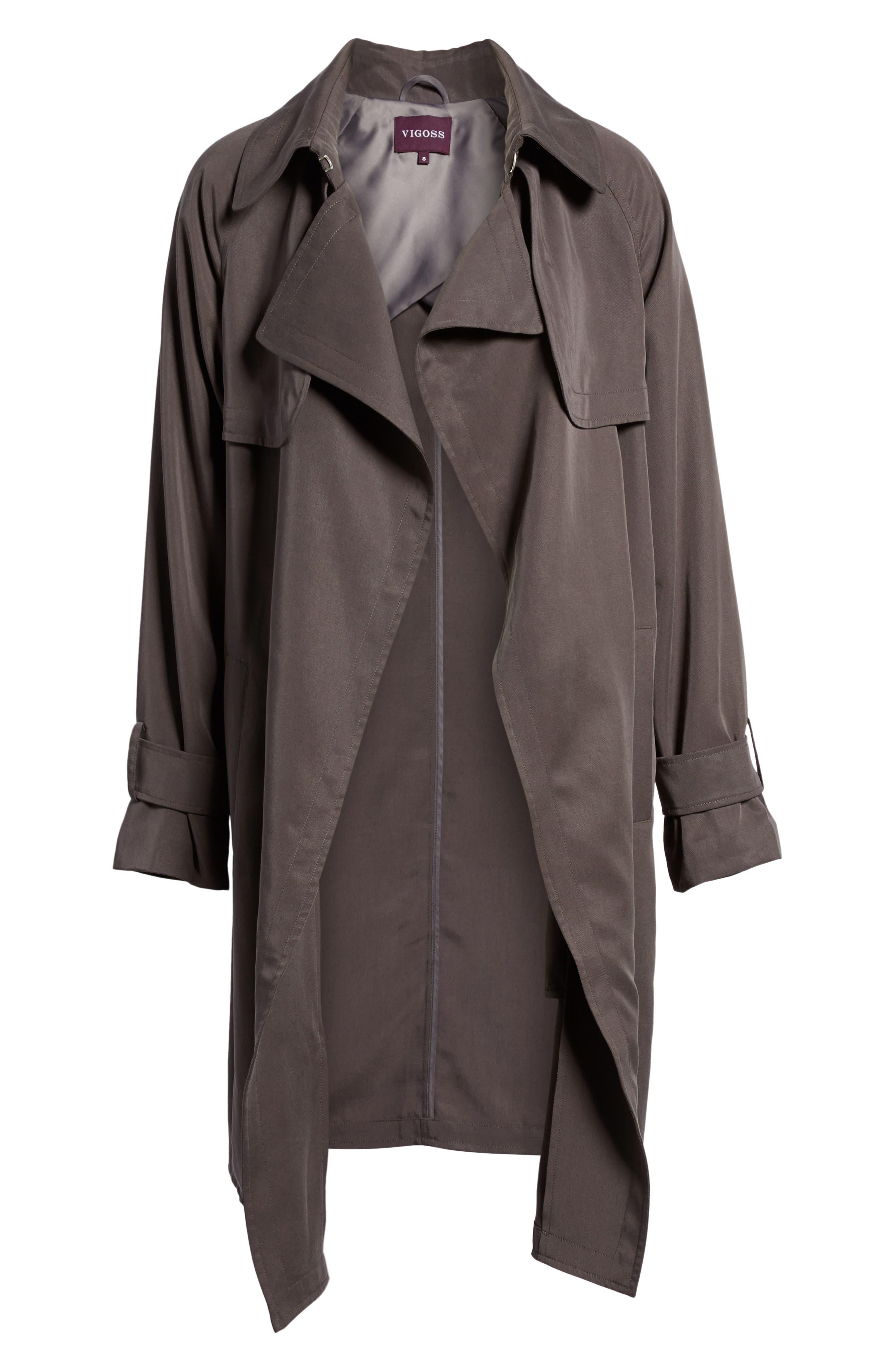 Ella Drape Trench Coat,                             Alternate thumbnail 5, color,                             020