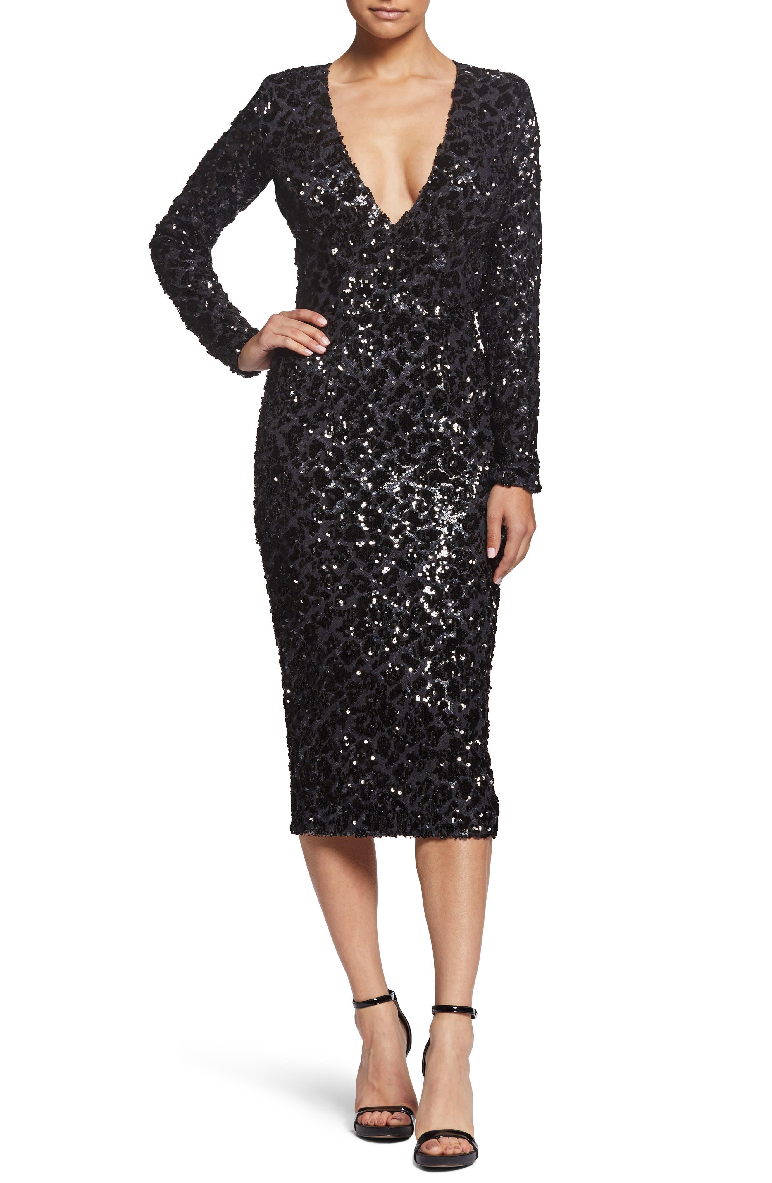 Dress The Population Elizabeth Plunge Midi Dress, Black