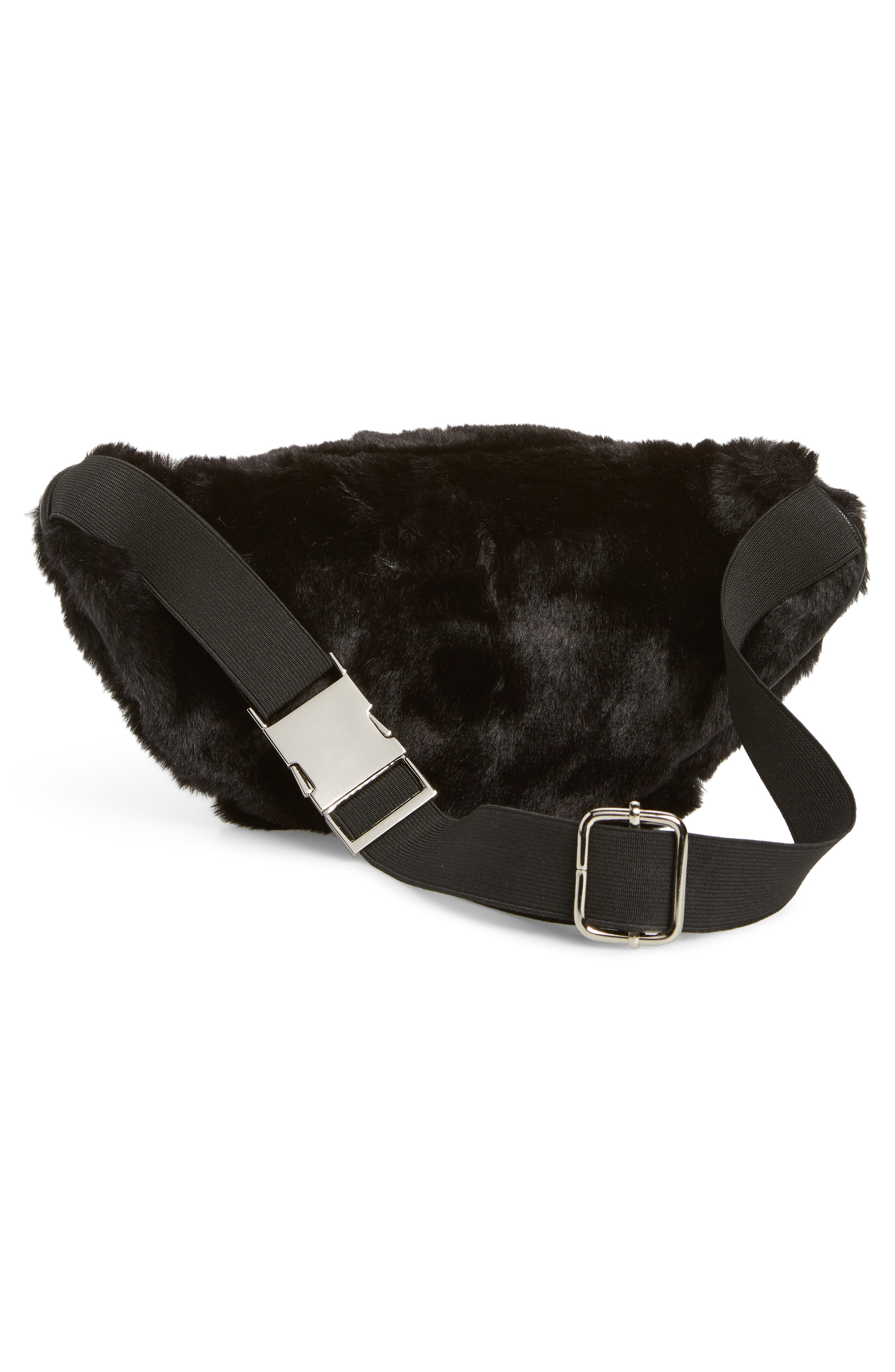 Jaida Faux Fur Belt Bag,                             Alternate thumbnail 4, color,                             BLACK