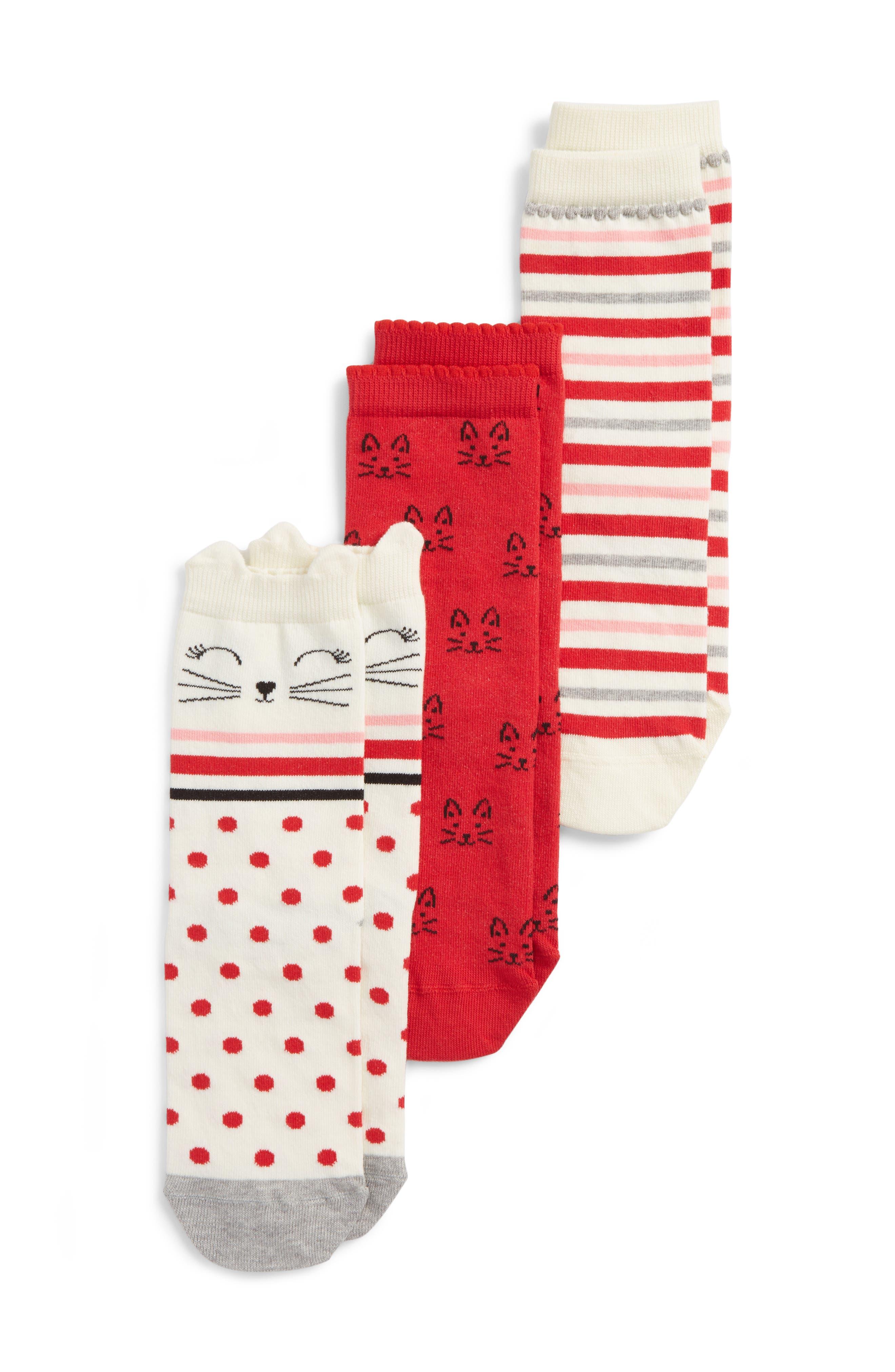 Girls Tucker  Tate Kitty Dot 3Pack Crew Socks Size 410  White