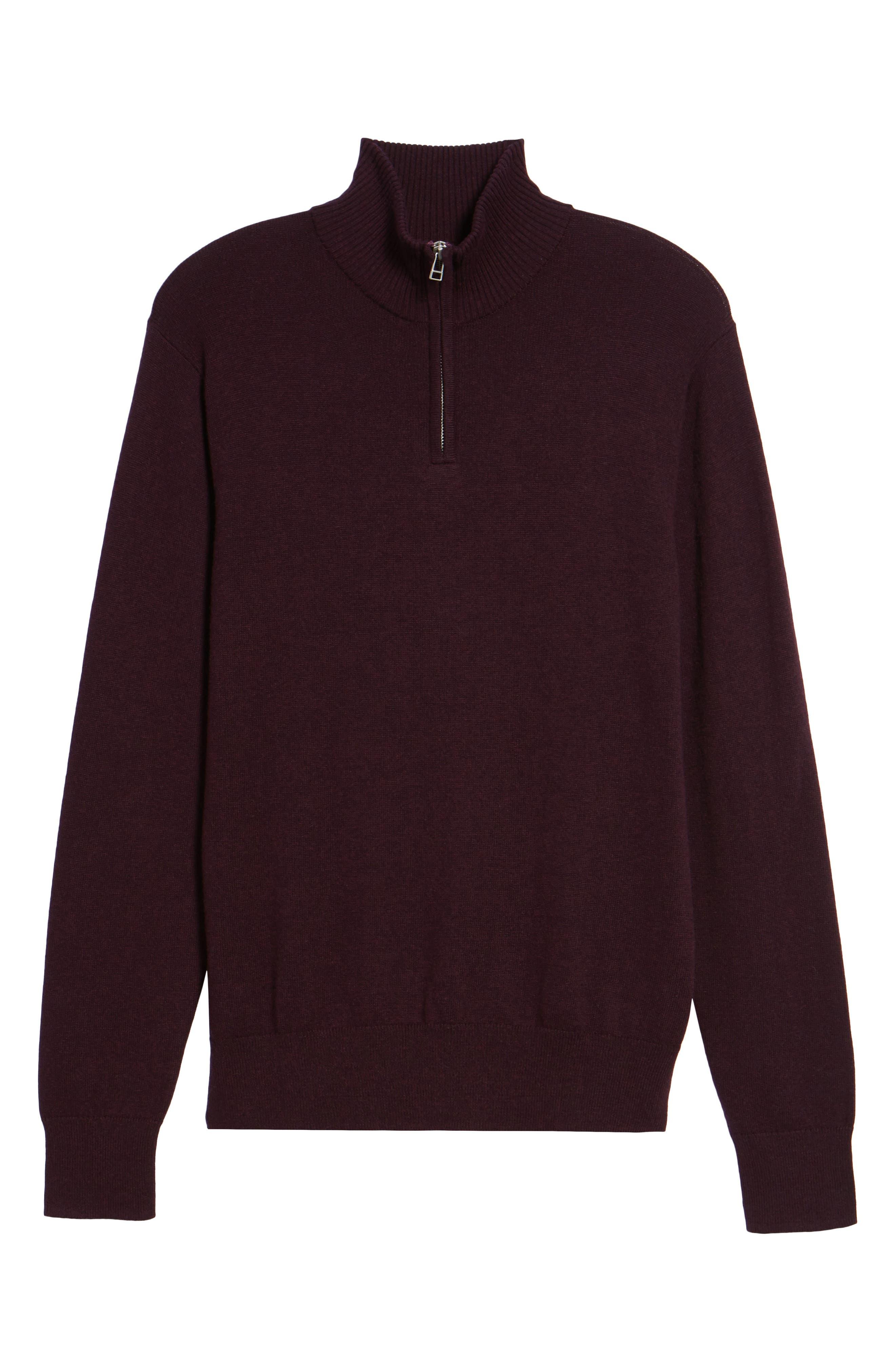 Cotton & Cashmere Quarter Zip Sweater,                             Alternate thumbnail 6, color,                             600