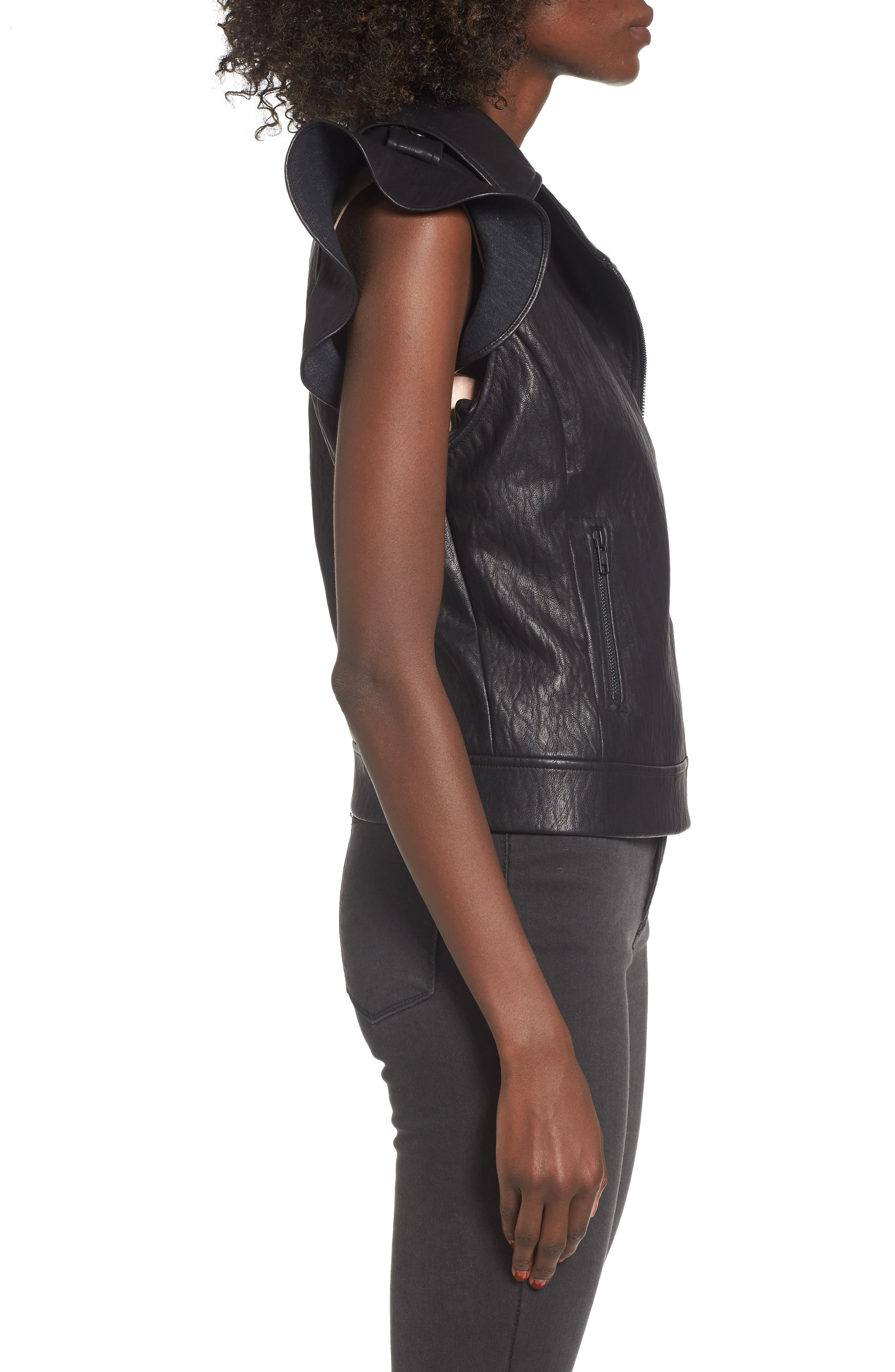 Ruffle Faux Leather Vest,                             Alternate thumbnail 3, color,                             001
