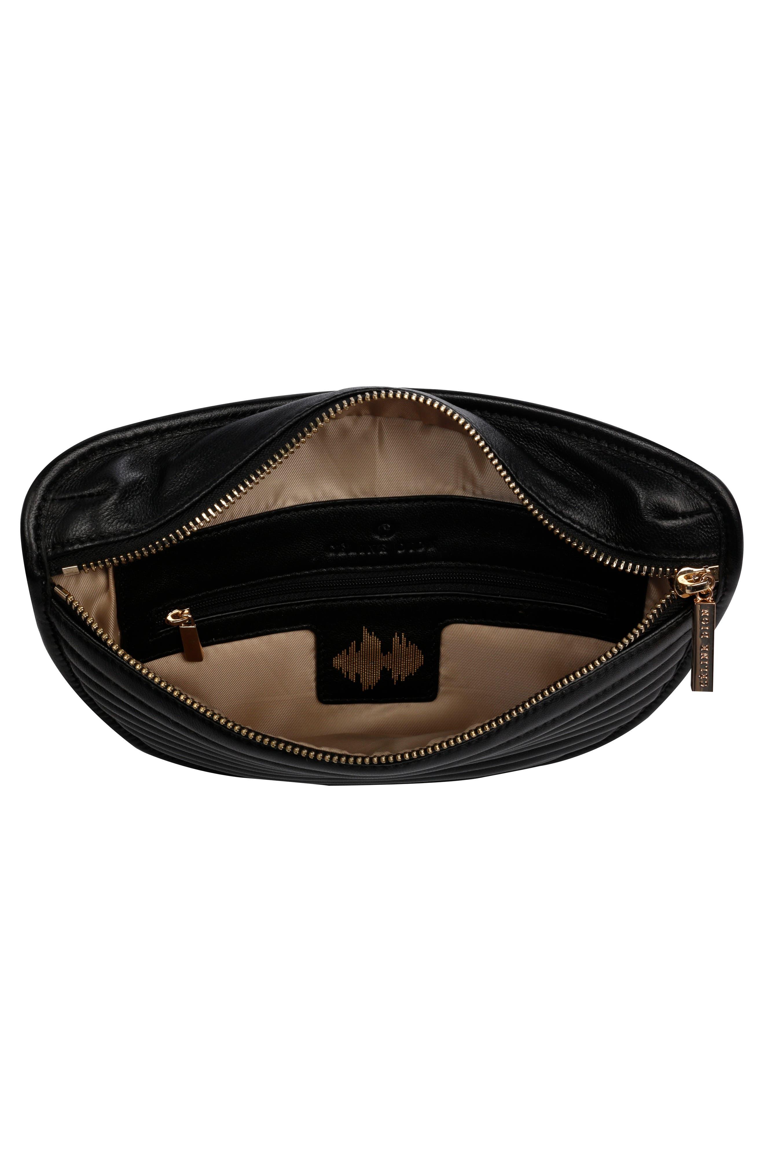 Céline Dion Vibrato Quilted Leather Money Belt,                             Alternate thumbnail 3, color,                             001