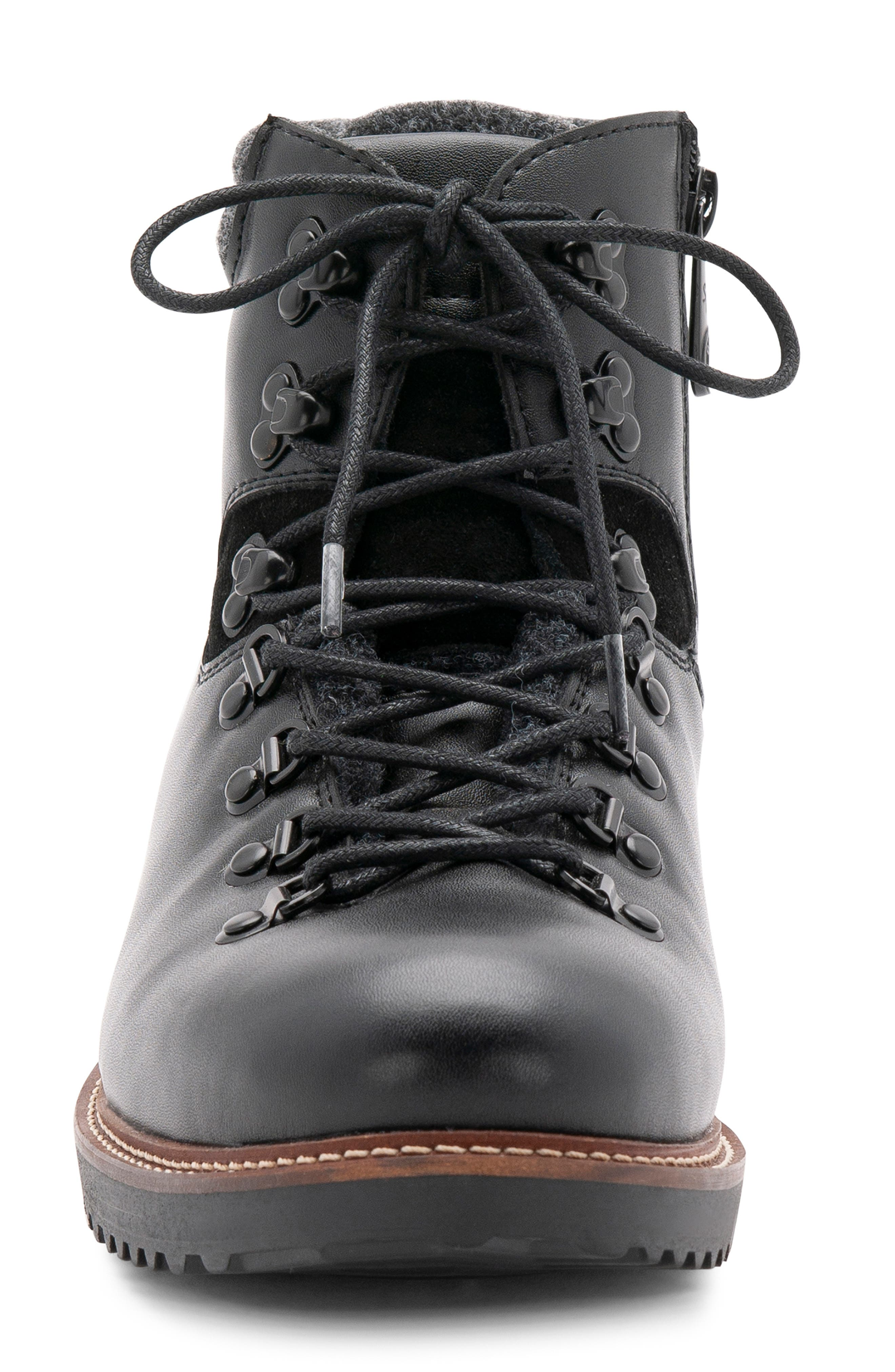 Morgan Waterproof Plain Toe Boot,                             Alternate thumbnail 4, color,                             BLACK LEATHER