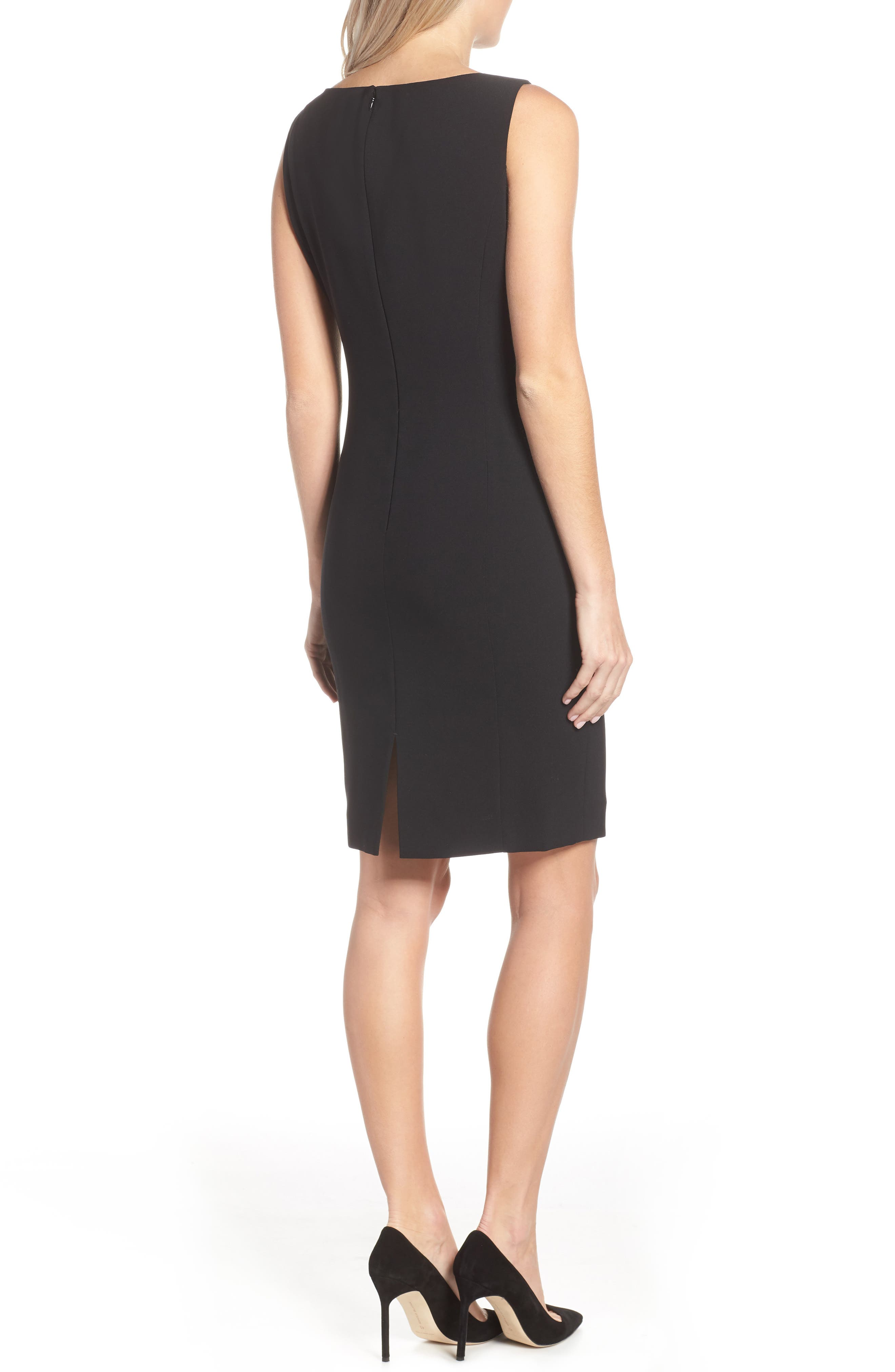 by Arthur S. Levine Crepe Sheath Dress,                             Alternate thumbnail 3, color,                             BLACK
