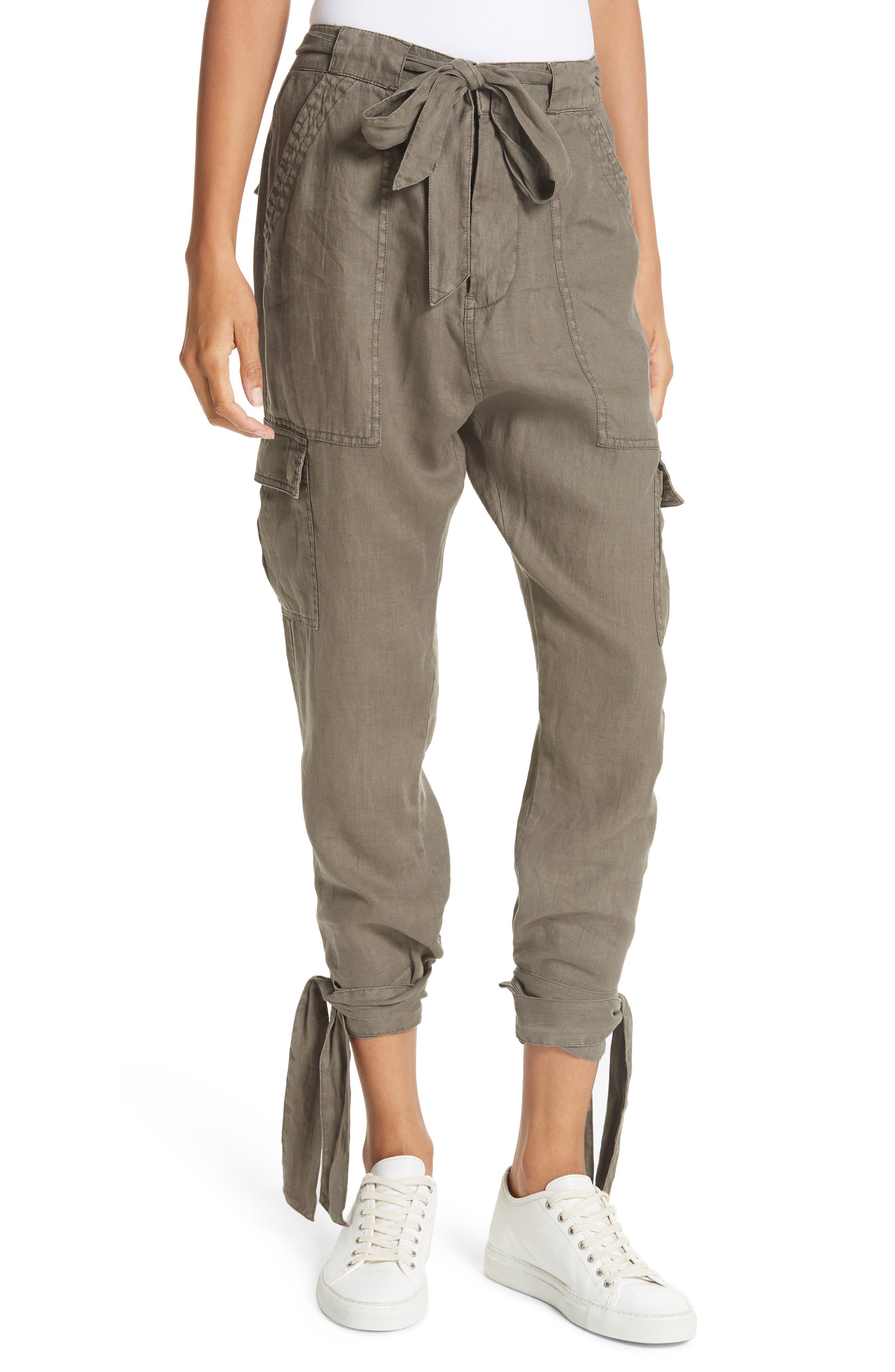 Erlette Linen Tie Cuff Crop Pants,                             Main thumbnail 2, color,