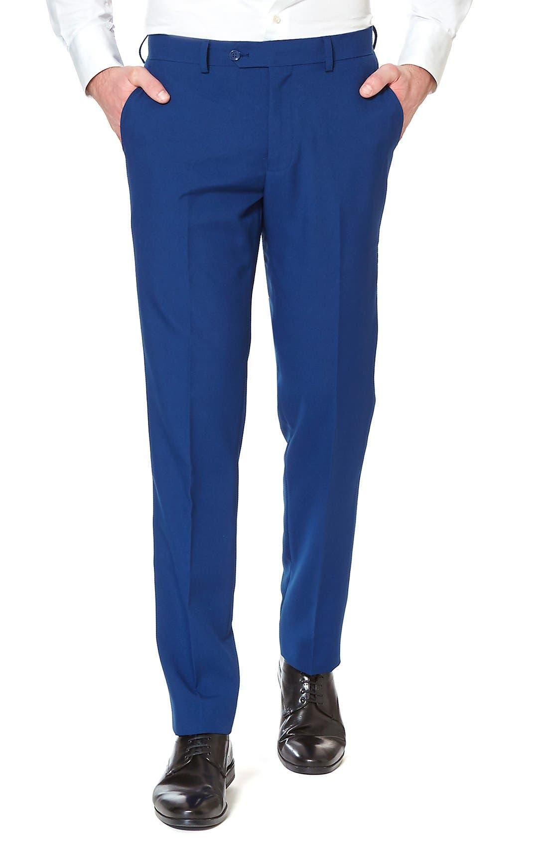 'Navy Royale' Trim Fit Two-Piece Suit with Tie,                             Alternate thumbnail 4, color,                             410