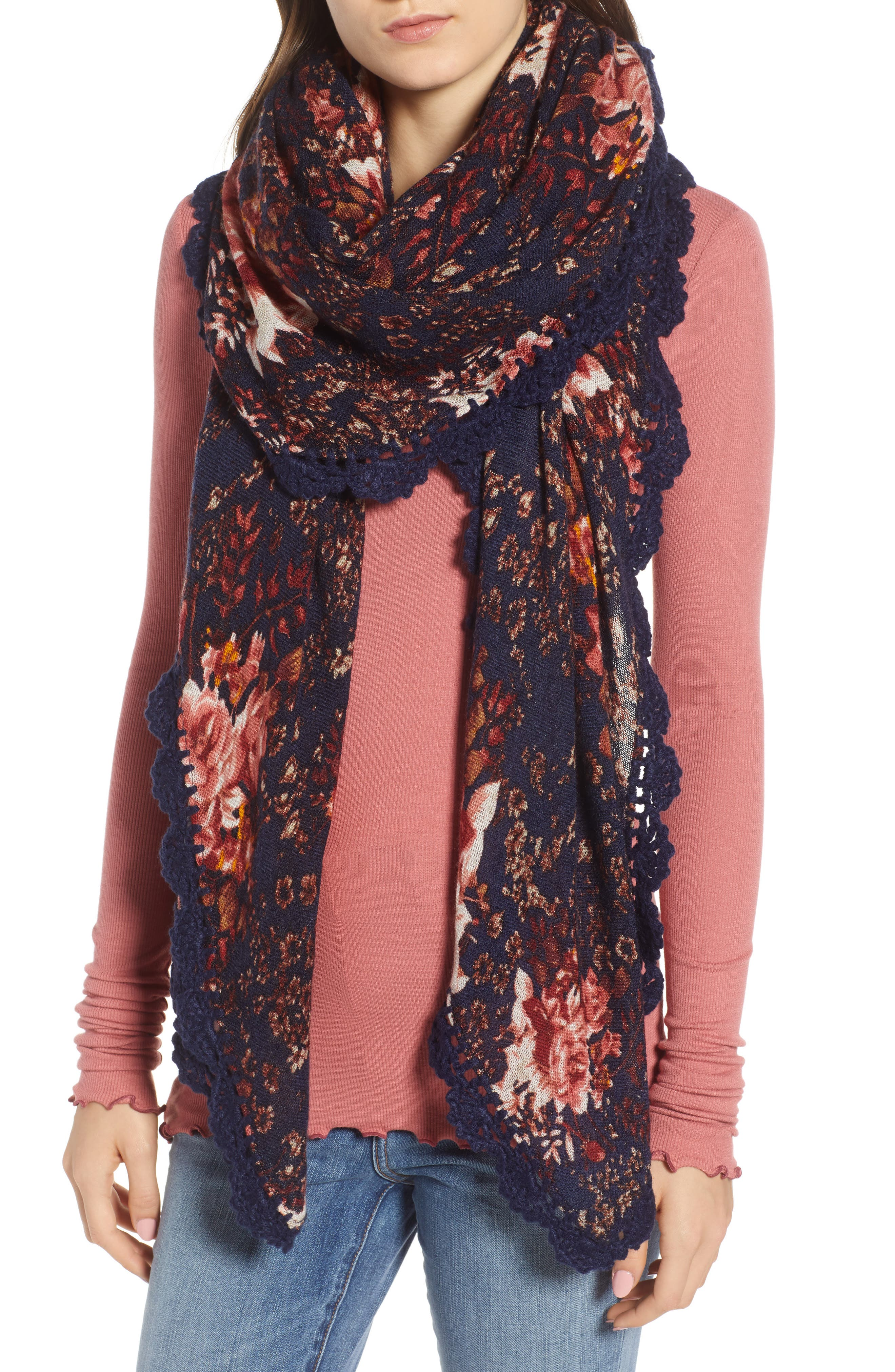 Printed Crochet Trim Scarf,                             Main thumbnail 1, color,                             001