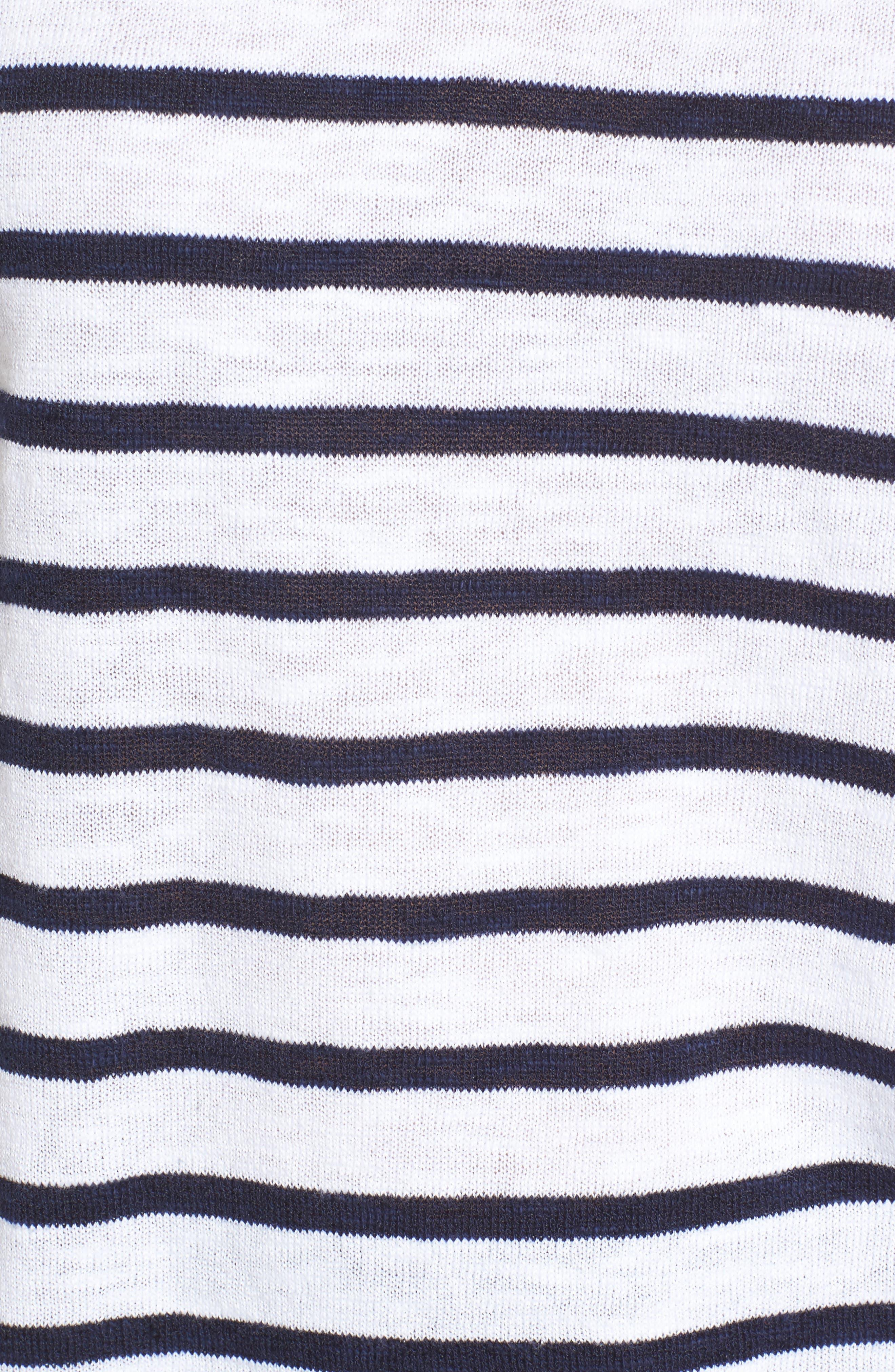 Stripe Organic Linen & Cotton Sweater,                             Alternate thumbnail 5, color,                             143