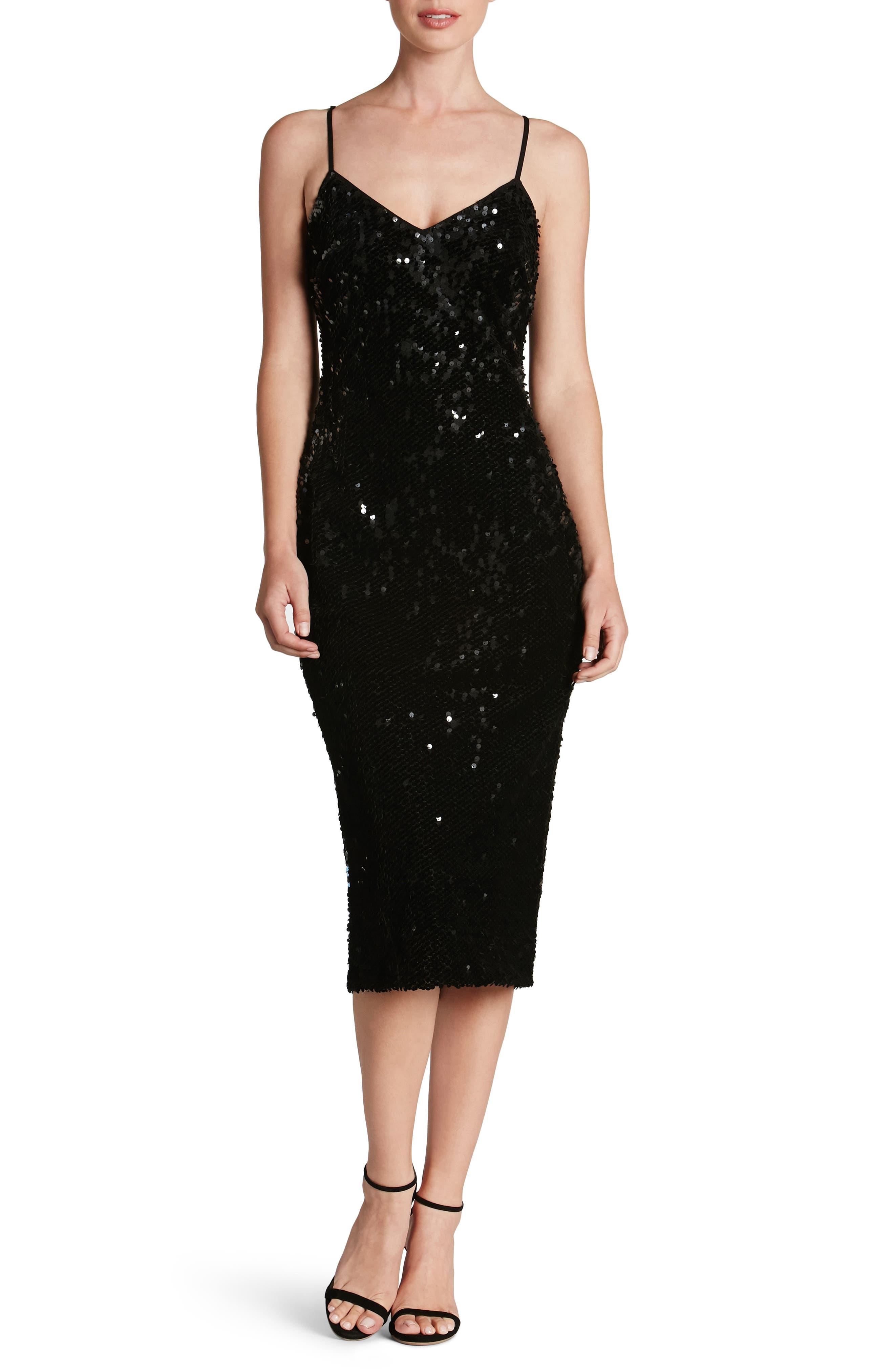 Nina Sequin Velvet Body-Con Dress,                             Alternate thumbnail 5, color,                             001