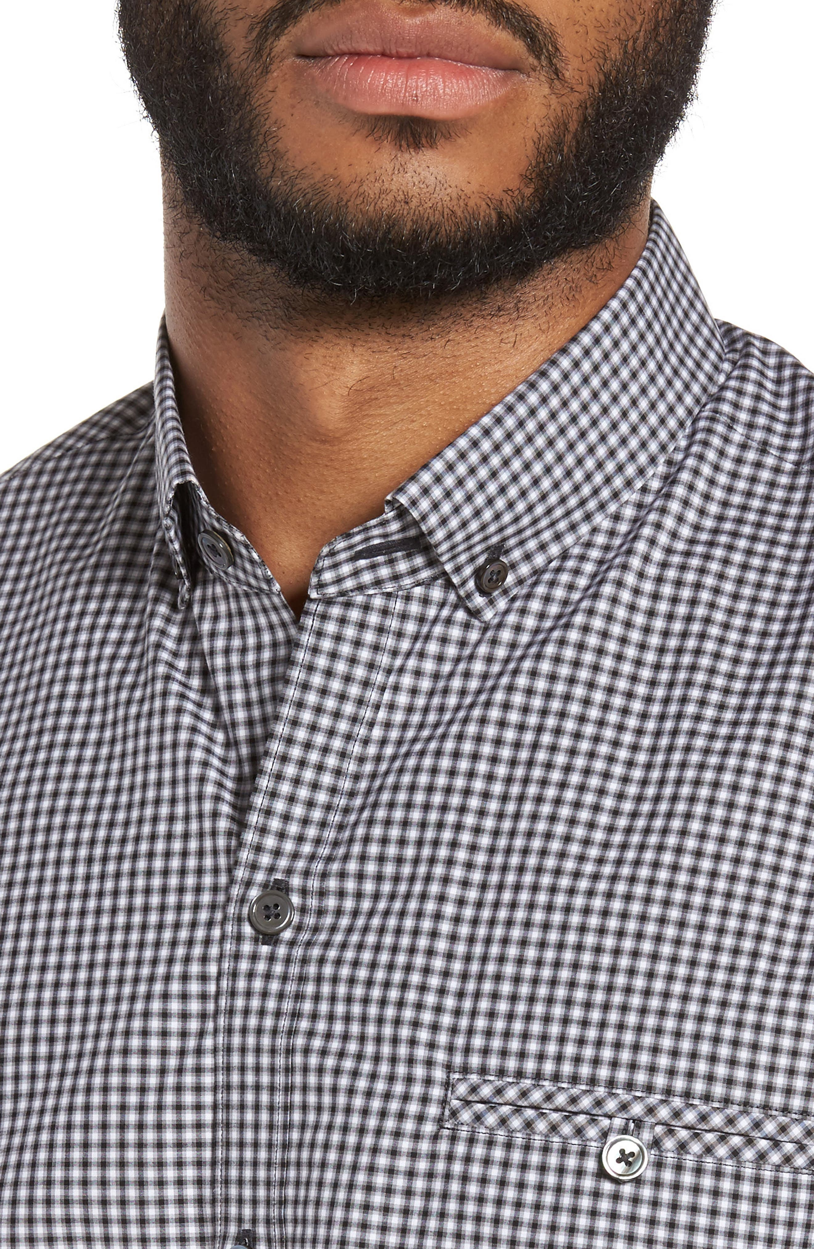 Ahmed Slim Fit Plaid Sport Shirt,                             Alternate thumbnail 4, color,                             021