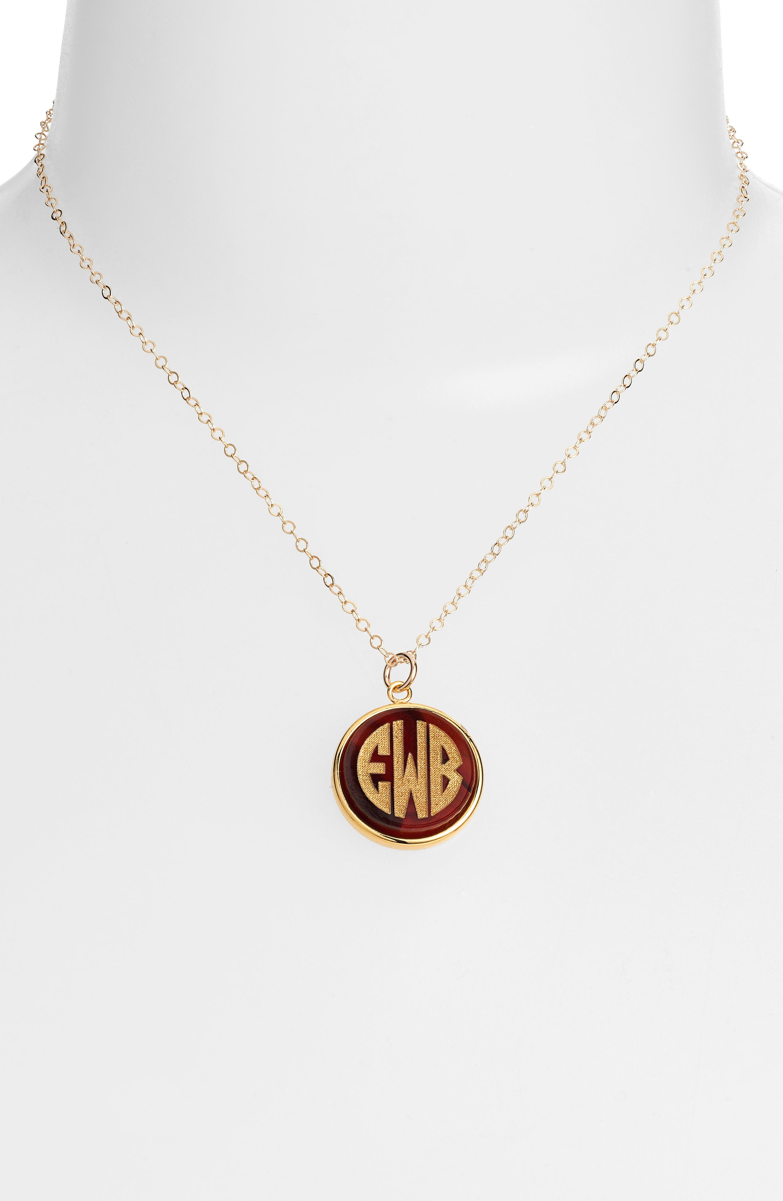 'Vineyard' Personalized Monogram Pendant Necklace,                             Alternate thumbnail 12, color,