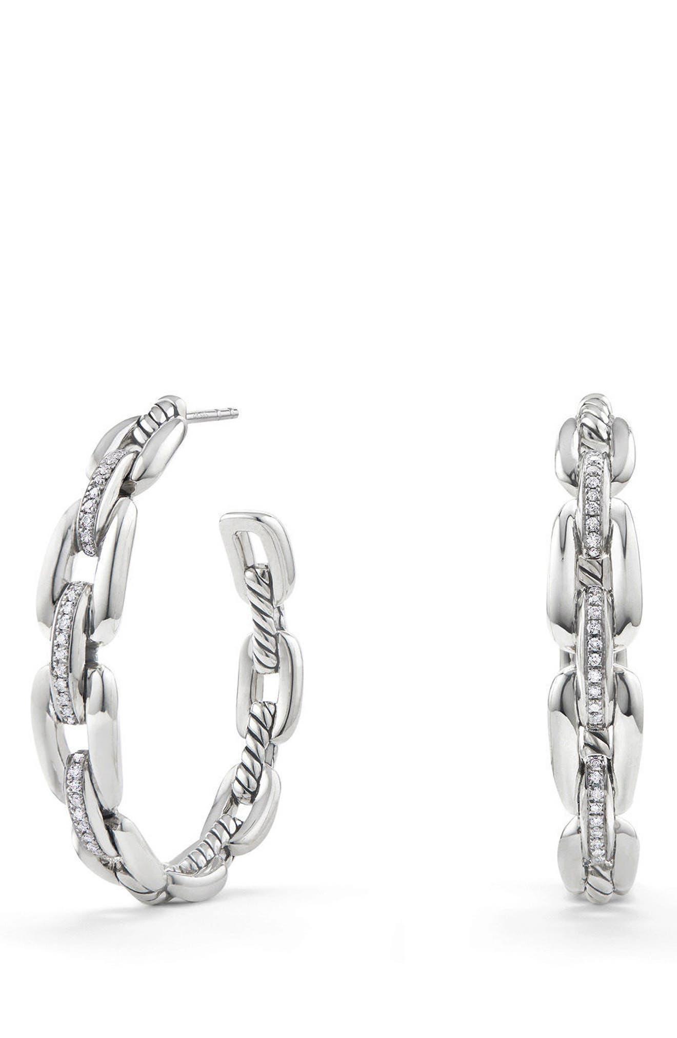 Wellesley 23mm Hoop Earrings with Diamonds,                             Main thumbnail 1, color,                             SILVER