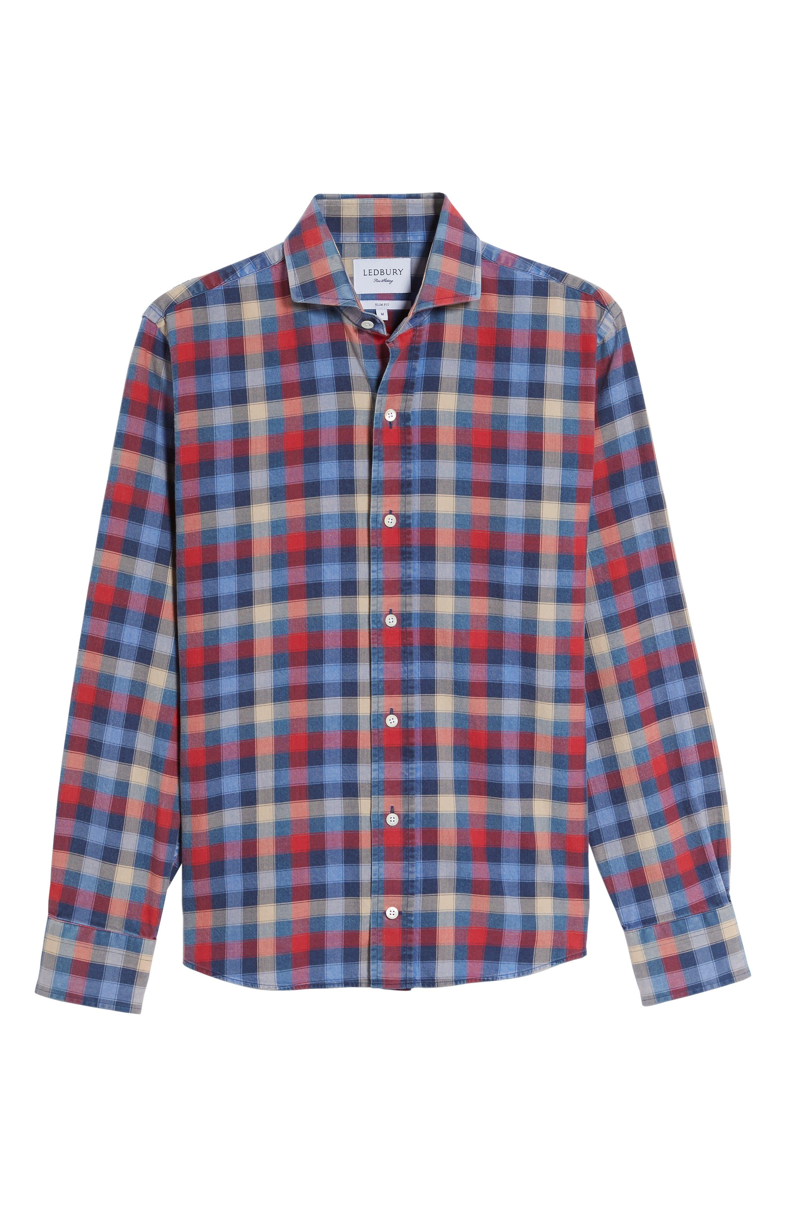 Alden Slim Fit Check Sport Shirt,                             Alternate thumbnail 6, color,                             652