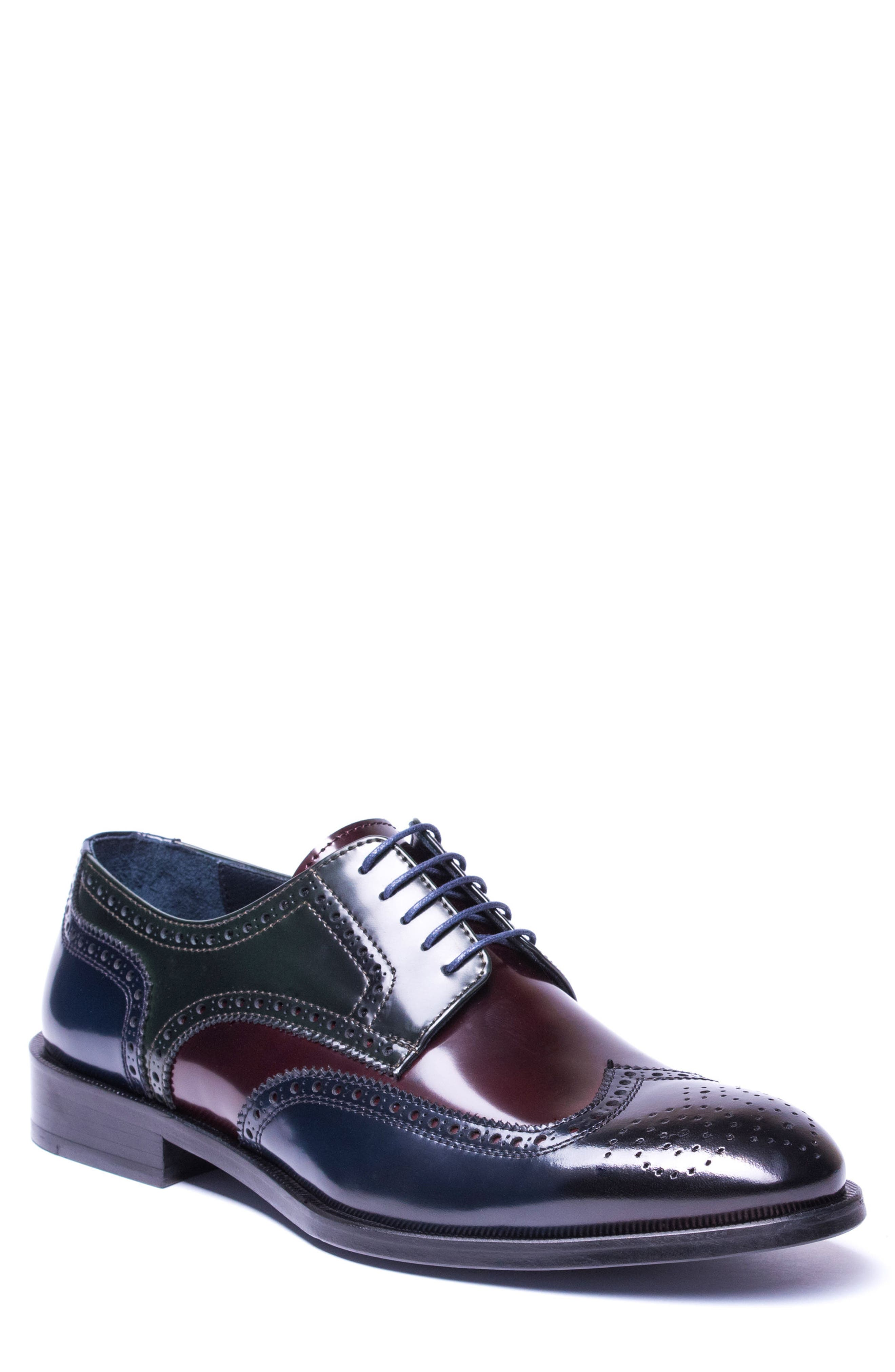 Bryce Wingtip Derby,                             Main thumbnail 1, color,                             BROWN/ BLUE LEATHER