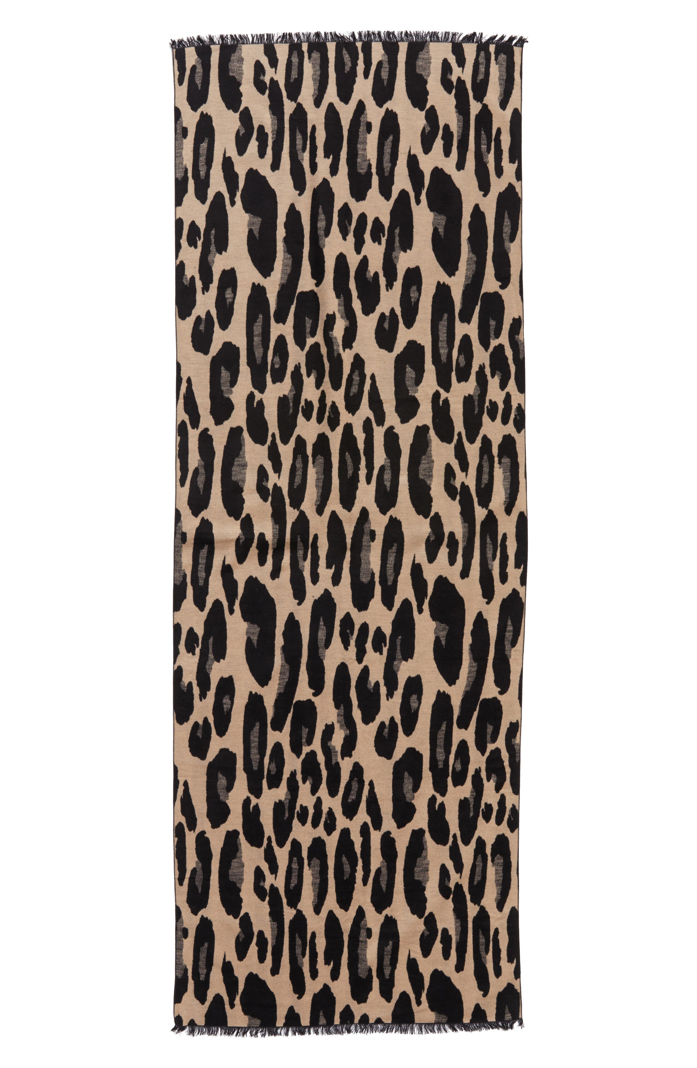 Leopard Print Brushed Silk Scarf,                             Alternate thumbnail 3, color,                             001