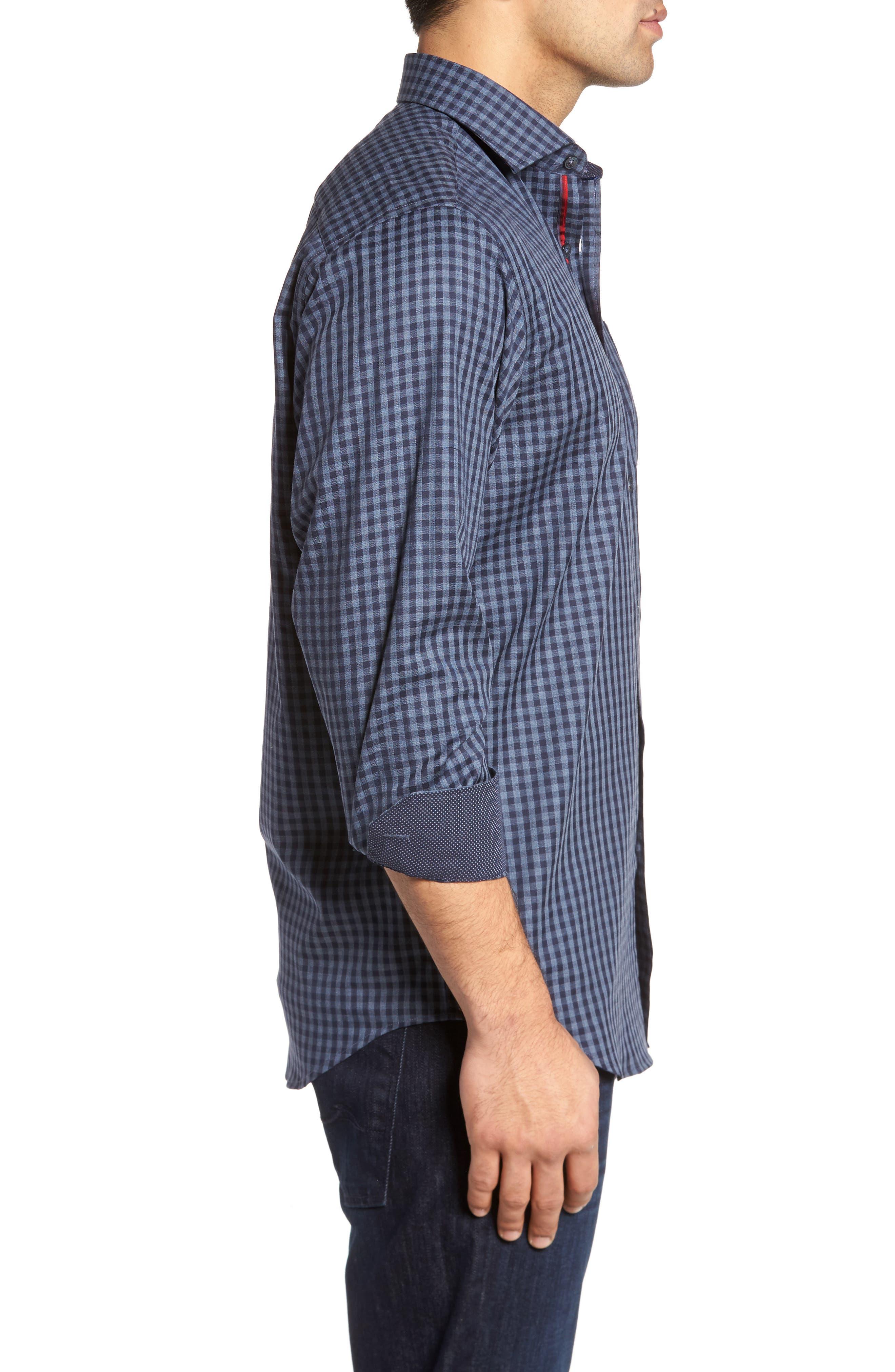 Classic Fit Herringbone Gingham Sport Shirt,                             Alternate thumbnail 3, color,                             030