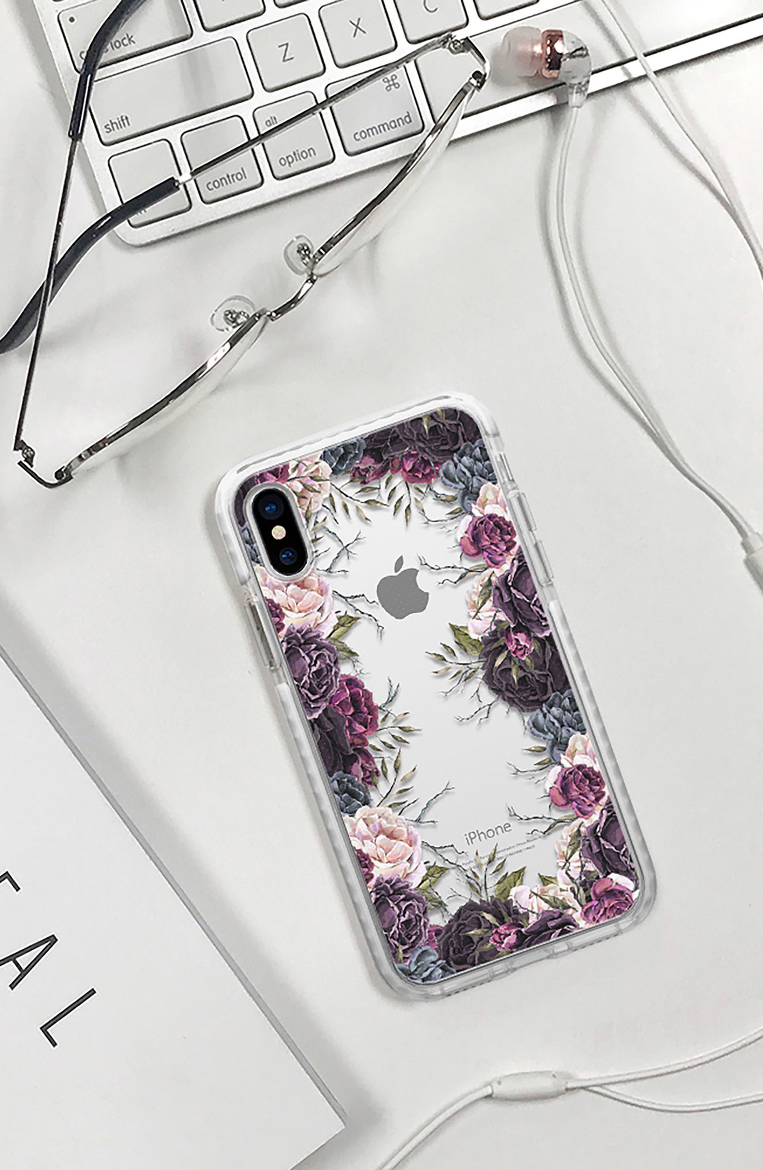 My Secret Garden Transparent iPhone X & Xs Case,                             Alternate thumbnail 6, color,                             PURPLE