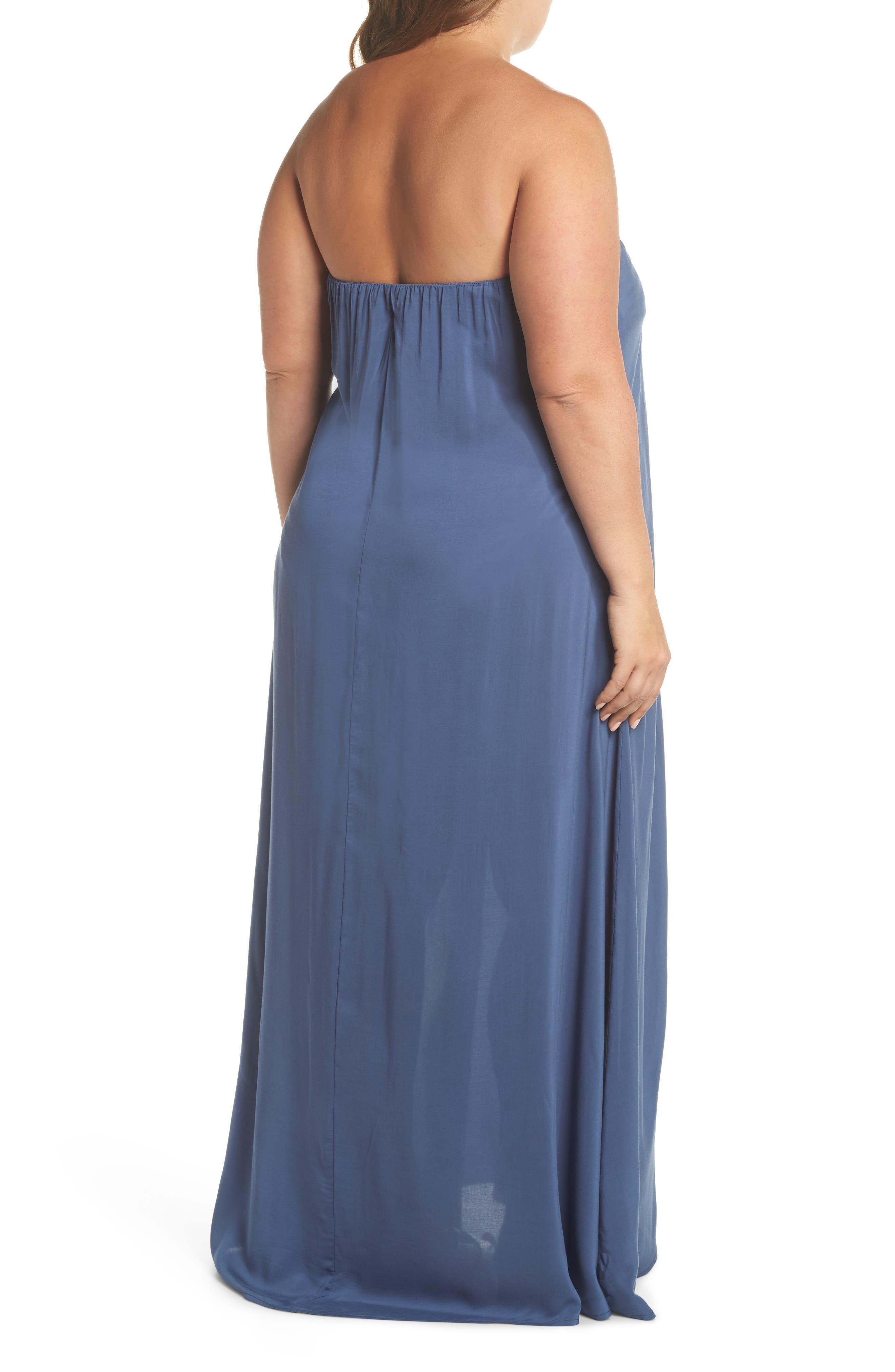Strapless Keyhole Cover-Up Maxi Dress,                             Alternate thumbnail 2, color,                             INDIGO