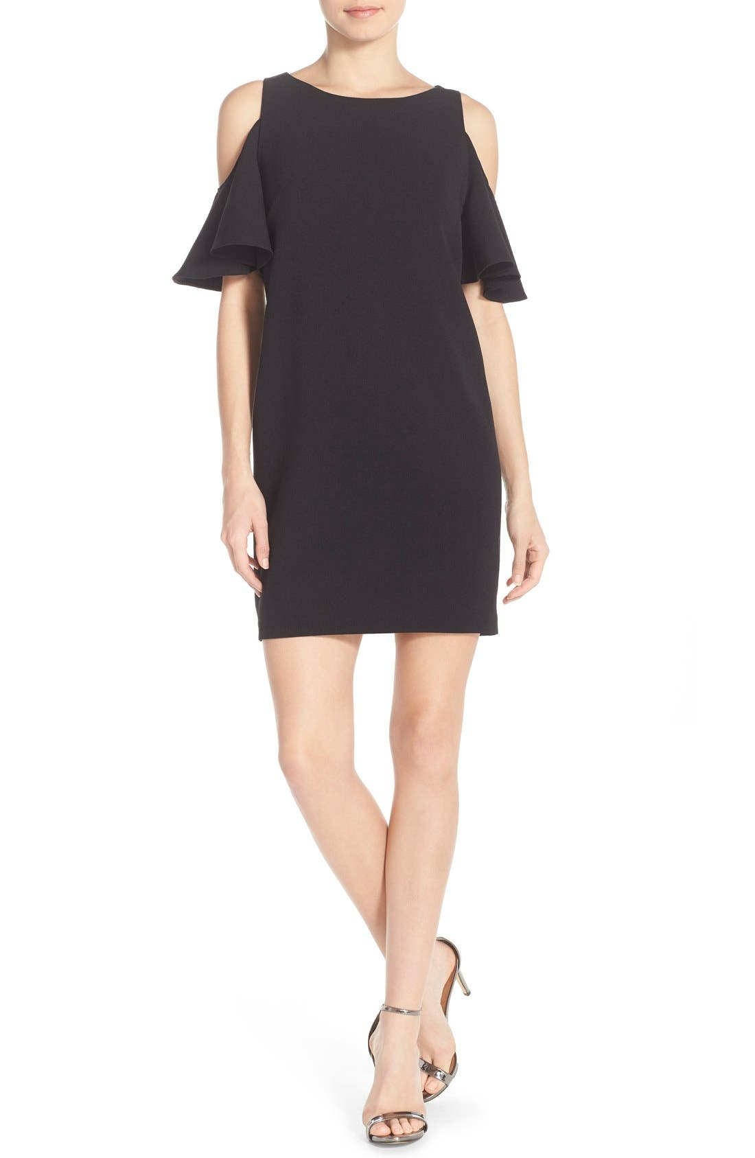 'Peek-A-Boo' Cold Shoulder Shift Dress,                             Alternate thumbnail 2, color,                             001