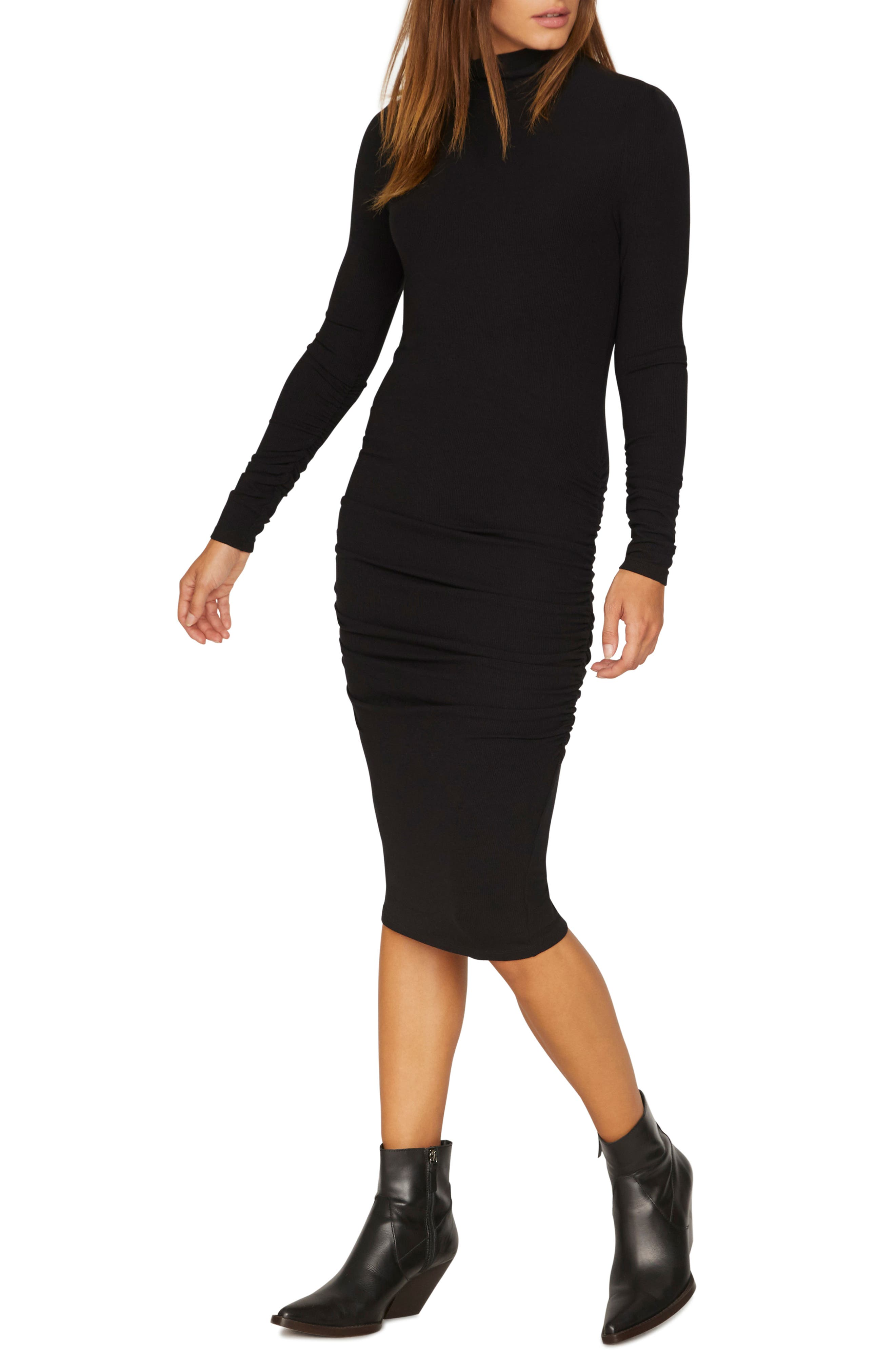 Petite Sanctuary Ruched Turtleneck Dress, Black