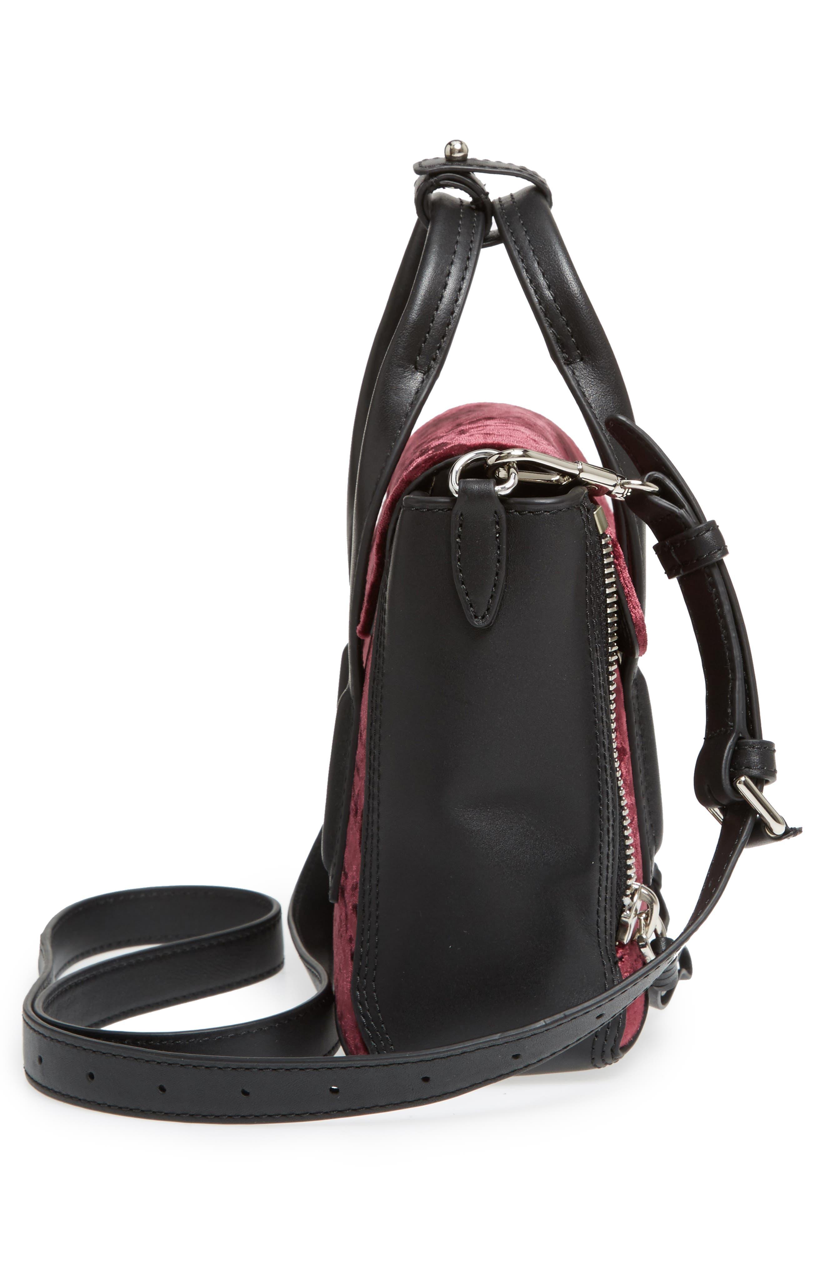 Mini Pashli Velvet & Leather Satchel,                             Alternate thumbnail 5, color,                             670