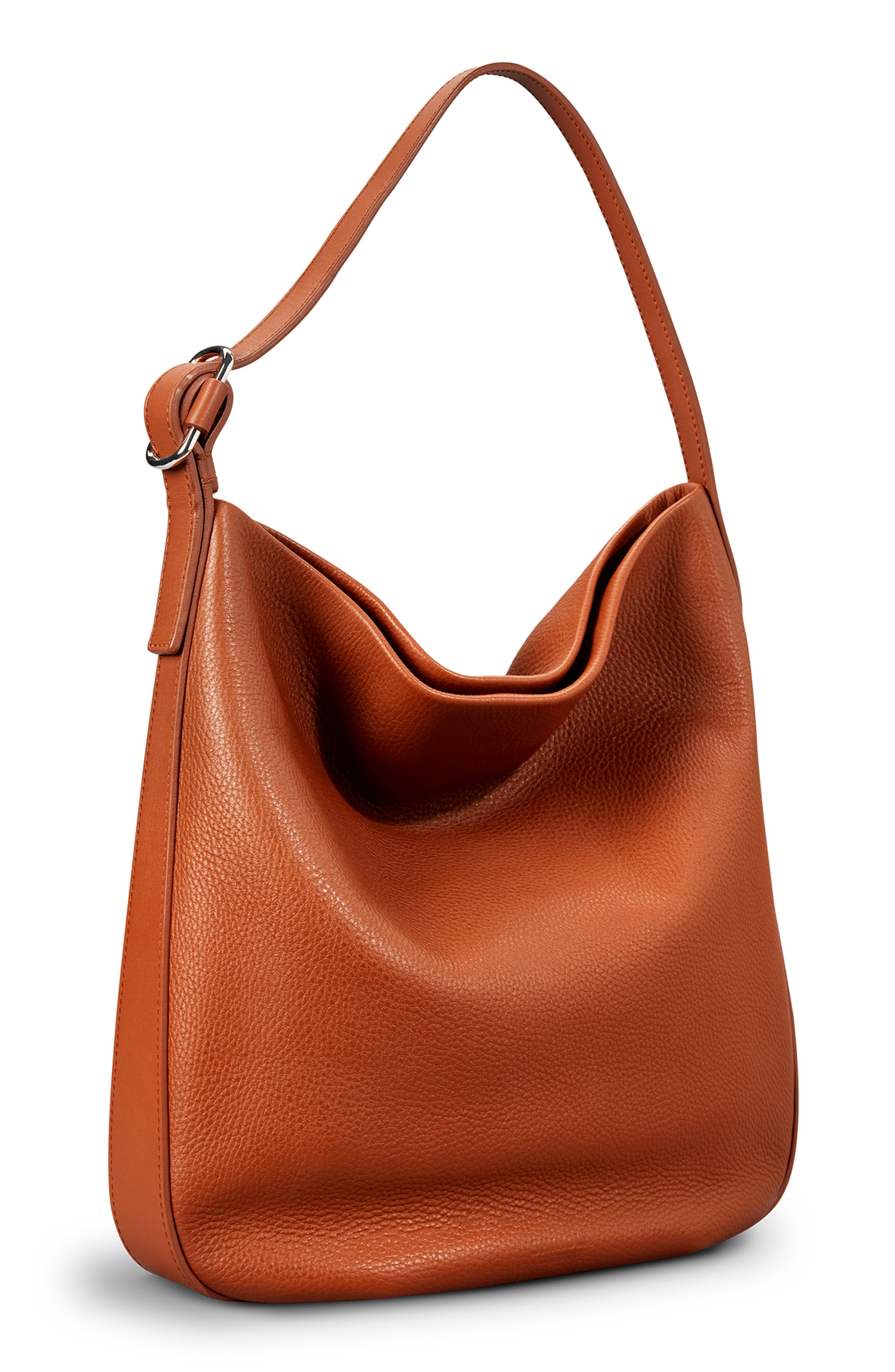 Birdy Grained Leather Hobo Bag,                             Alternate thumbnail 5, color,                             BOURBON