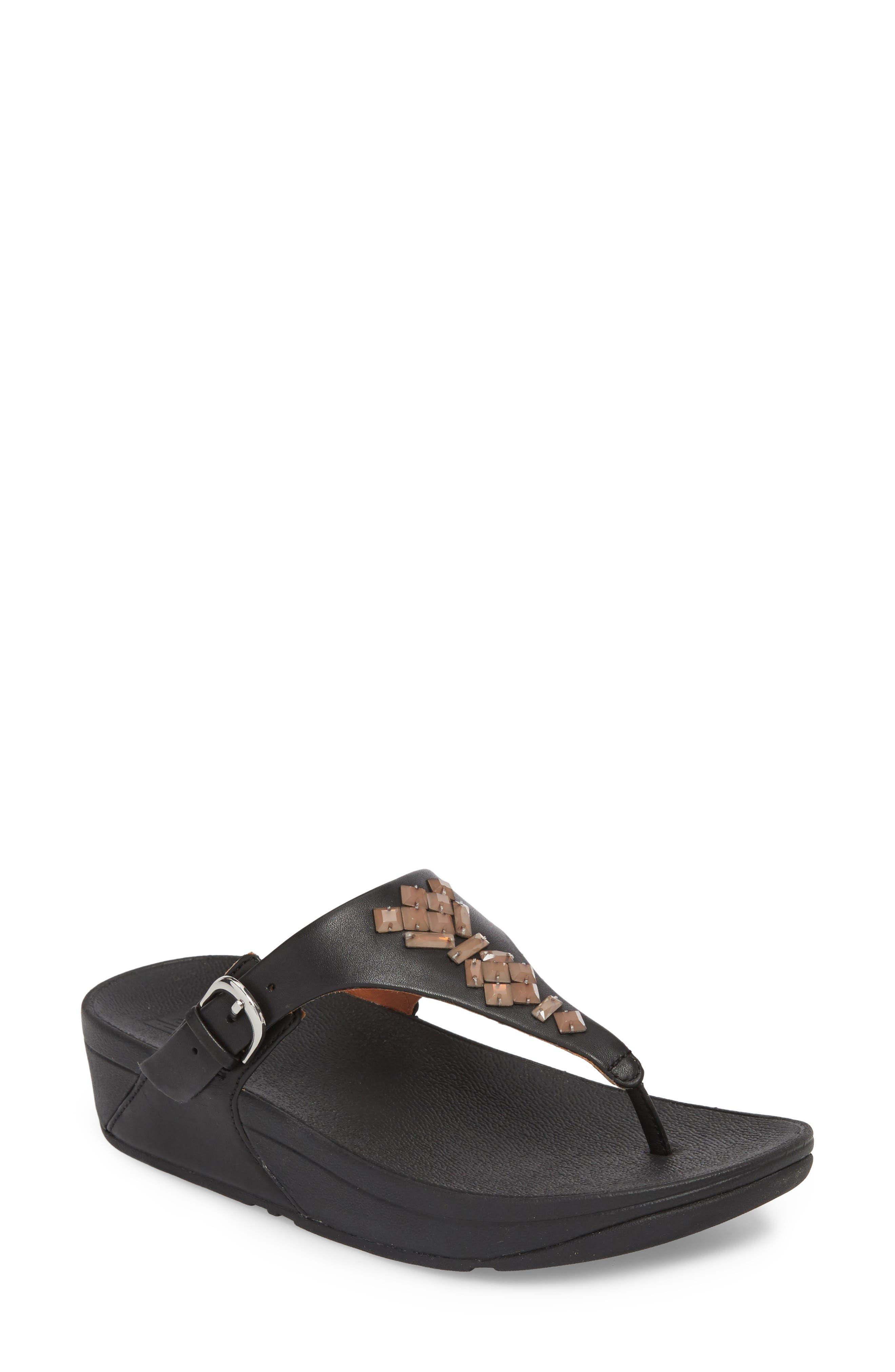 The Skinny Embellished V-Strap Thong Sandal,                             Main thumbnail 1, color,                             001