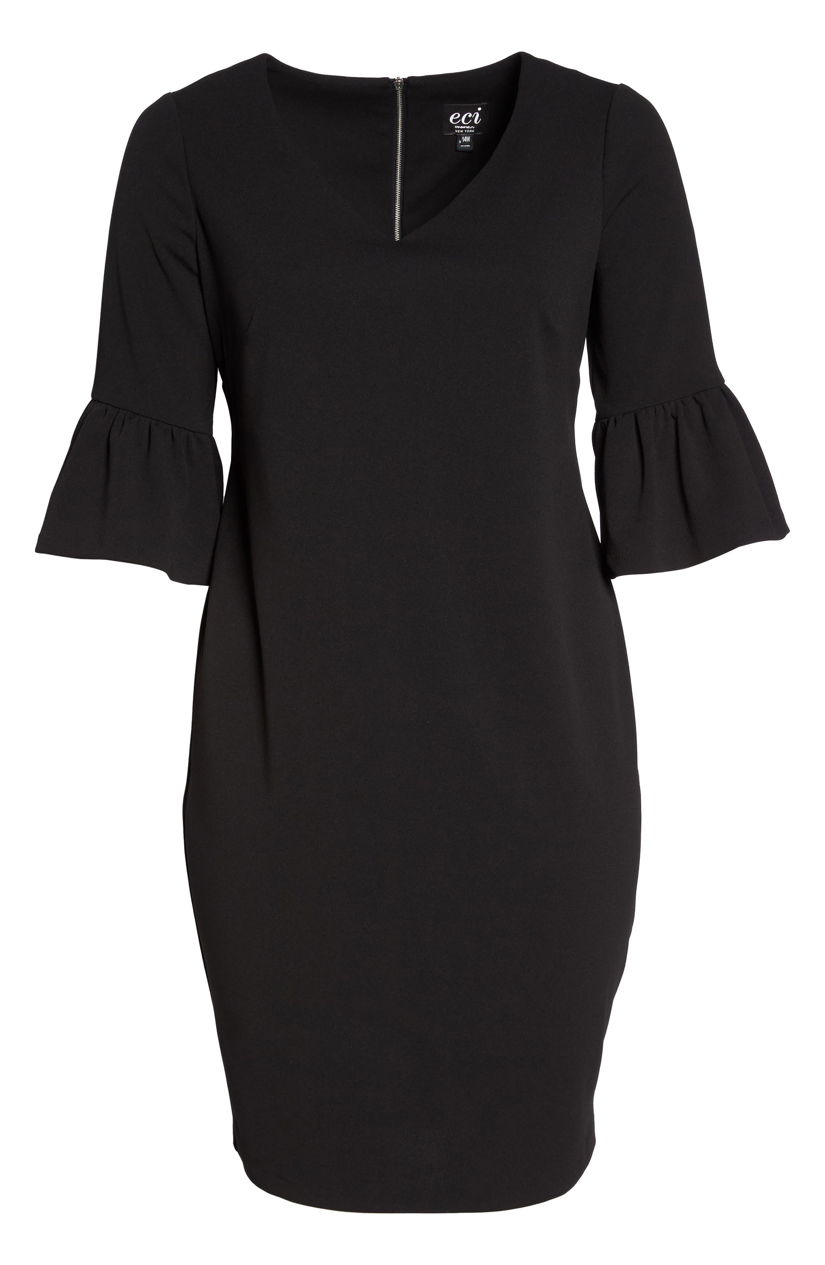 Ruffle Sleeve Sheath Dress,                             Alternate thumbnail 6, color,                             001