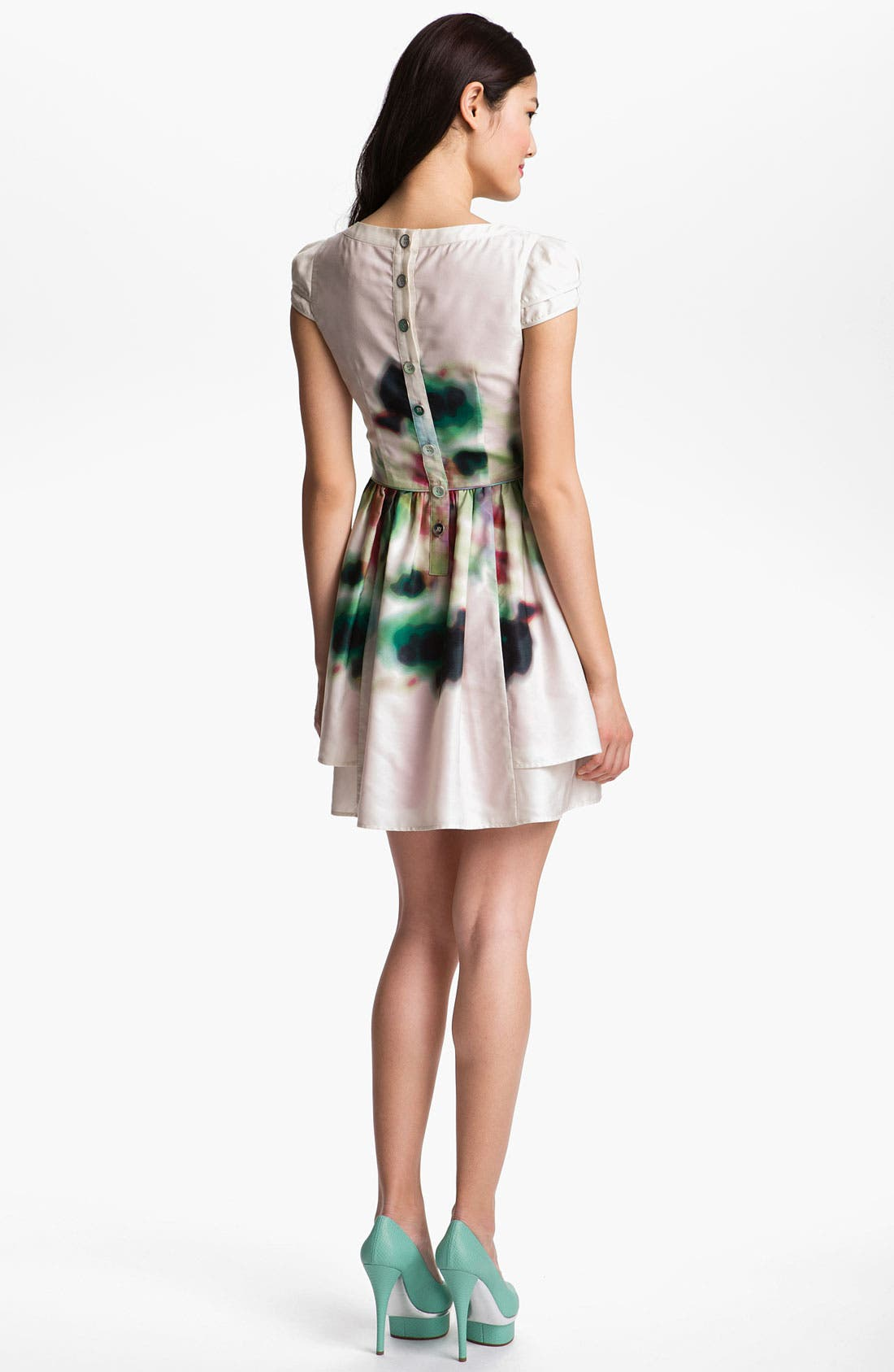 Layered Print Fit & Flare Dress,                             Alternate thumbnail 2, color,                             100
