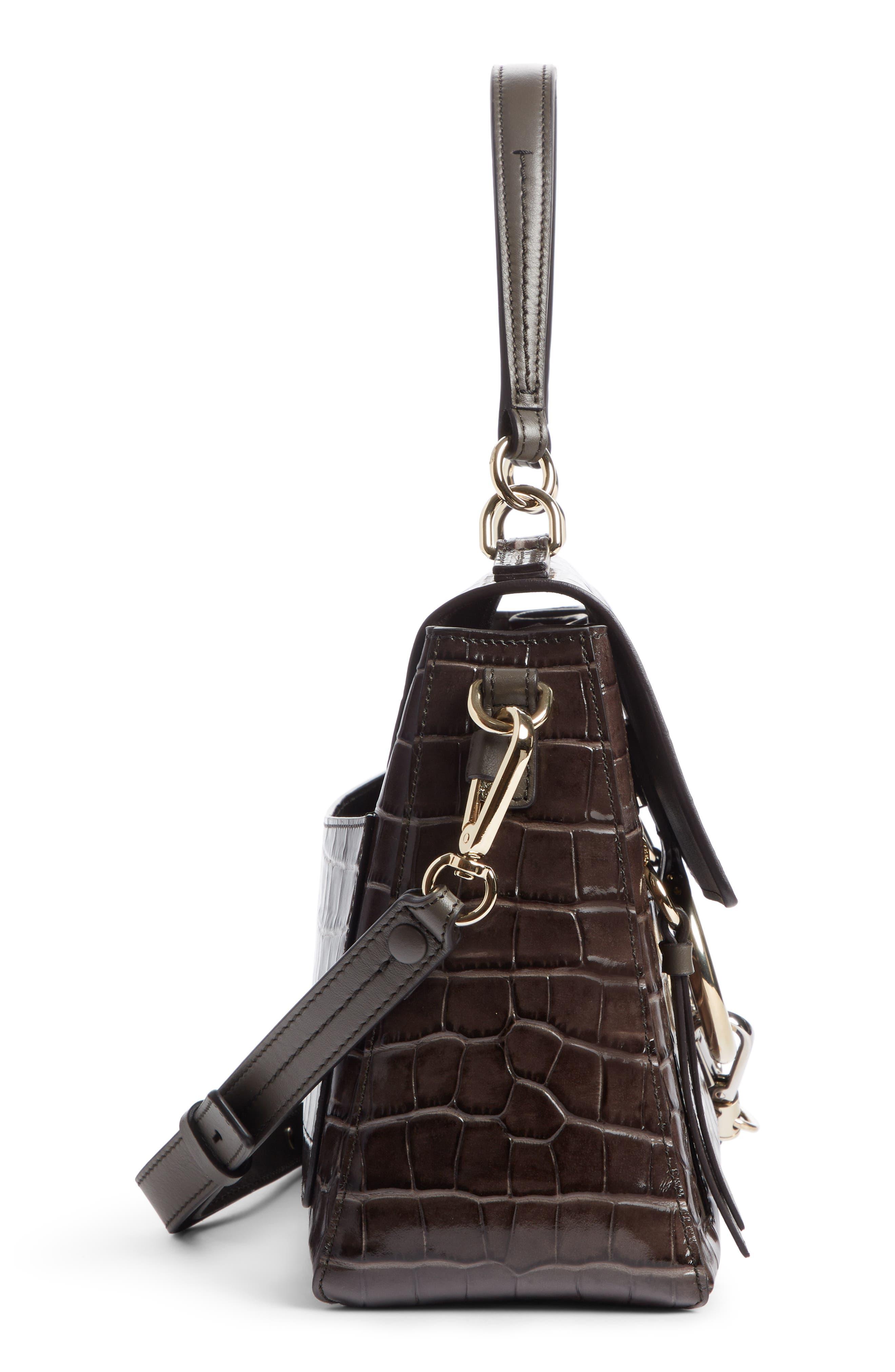 Medium Faye Day Croc Embossed Leather Shoulder Bag,                             Alternate thumbnail 4, color,                             AUTUMNAL BROWN