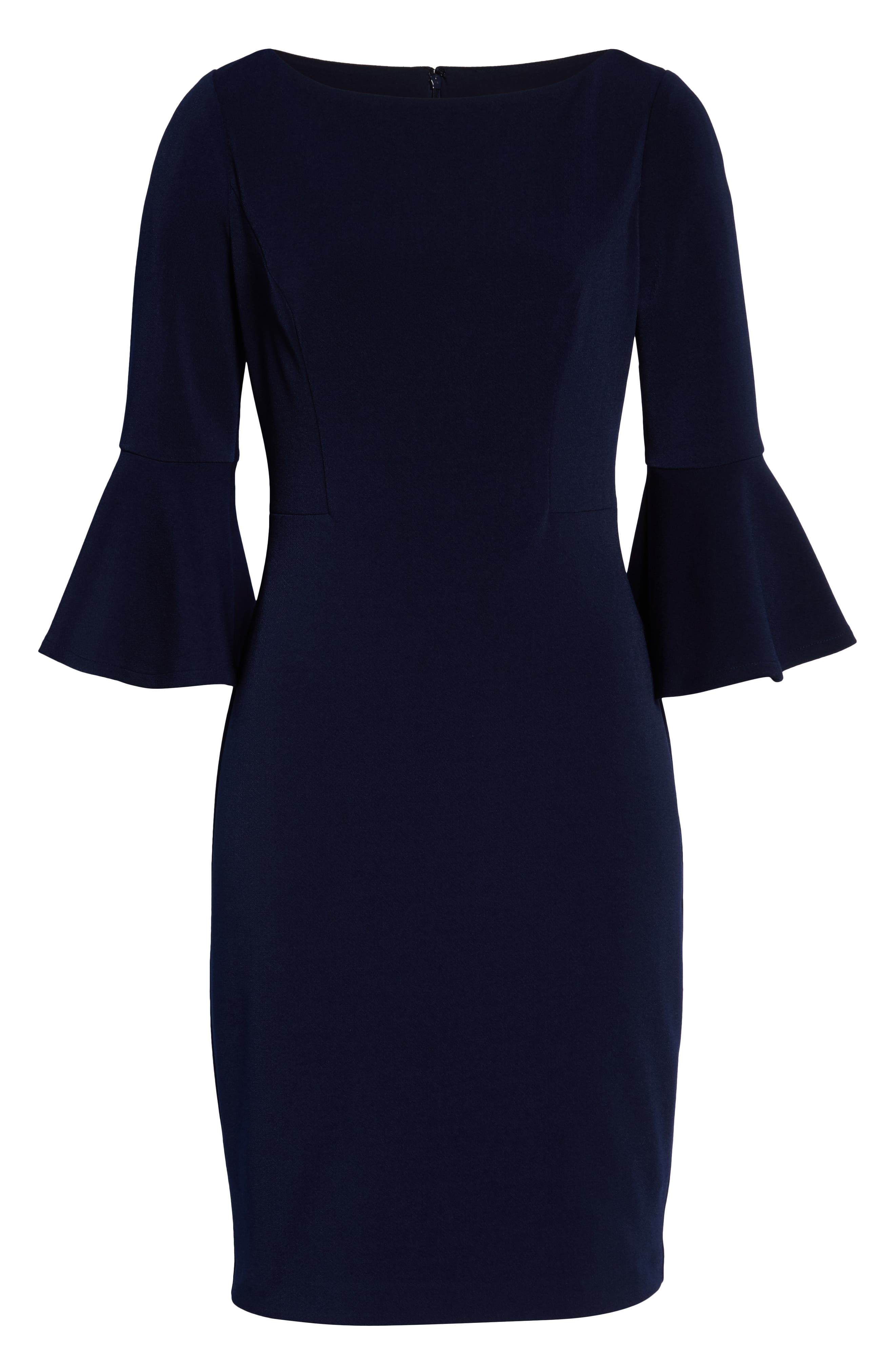 HARPER ROSE,                             Bell Sleeve Bateau Neck Sheath Dress,                             Alternate thumbnail 7, color,                             NAVY