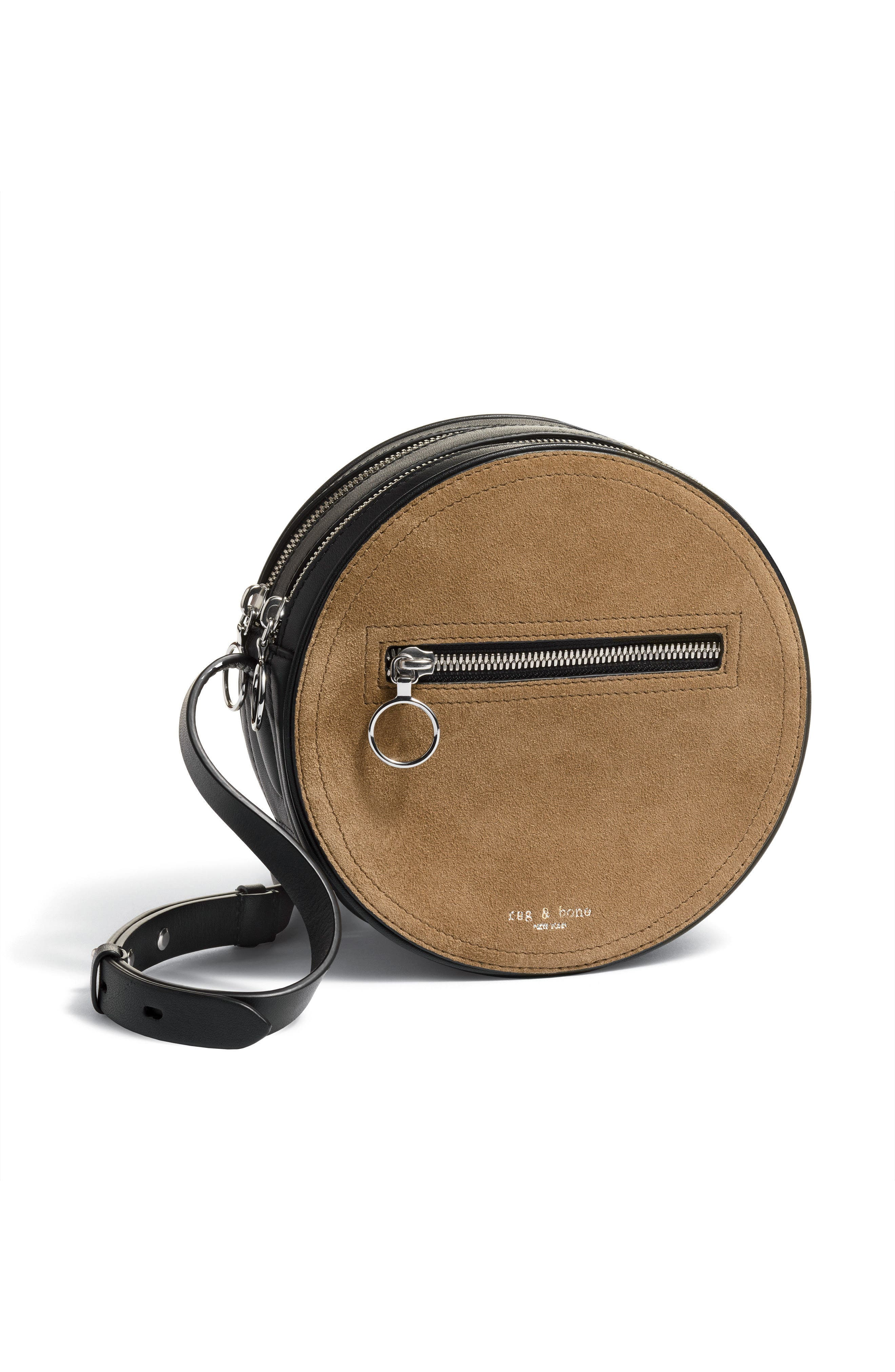 Suede & Leather Circle Crossbody Bag,                             Alternate thumbnail 8, color,                             200