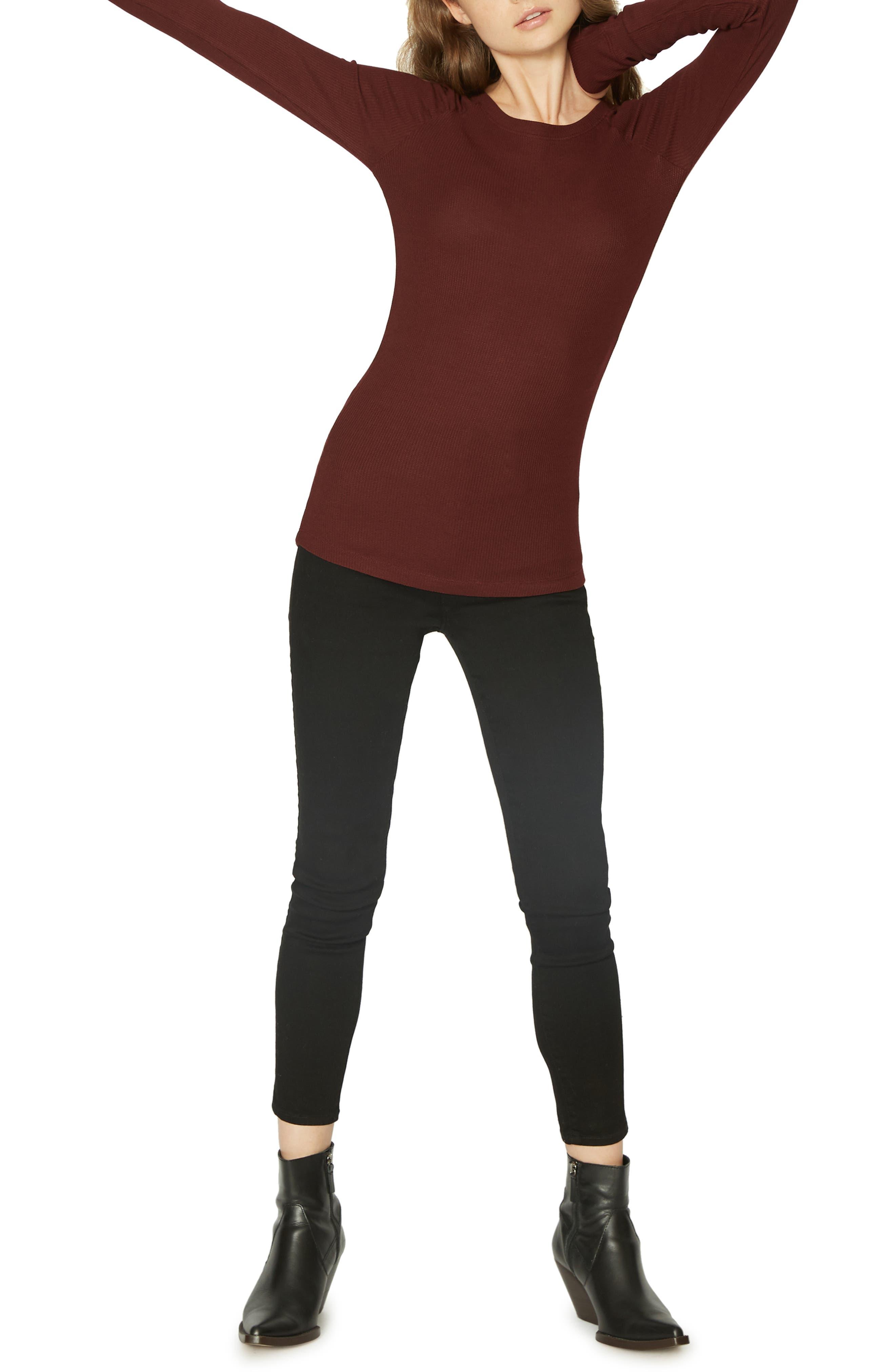Kenzie Thermal Pullover,                             Alternate thumbnail 4, color,                             SCARLET