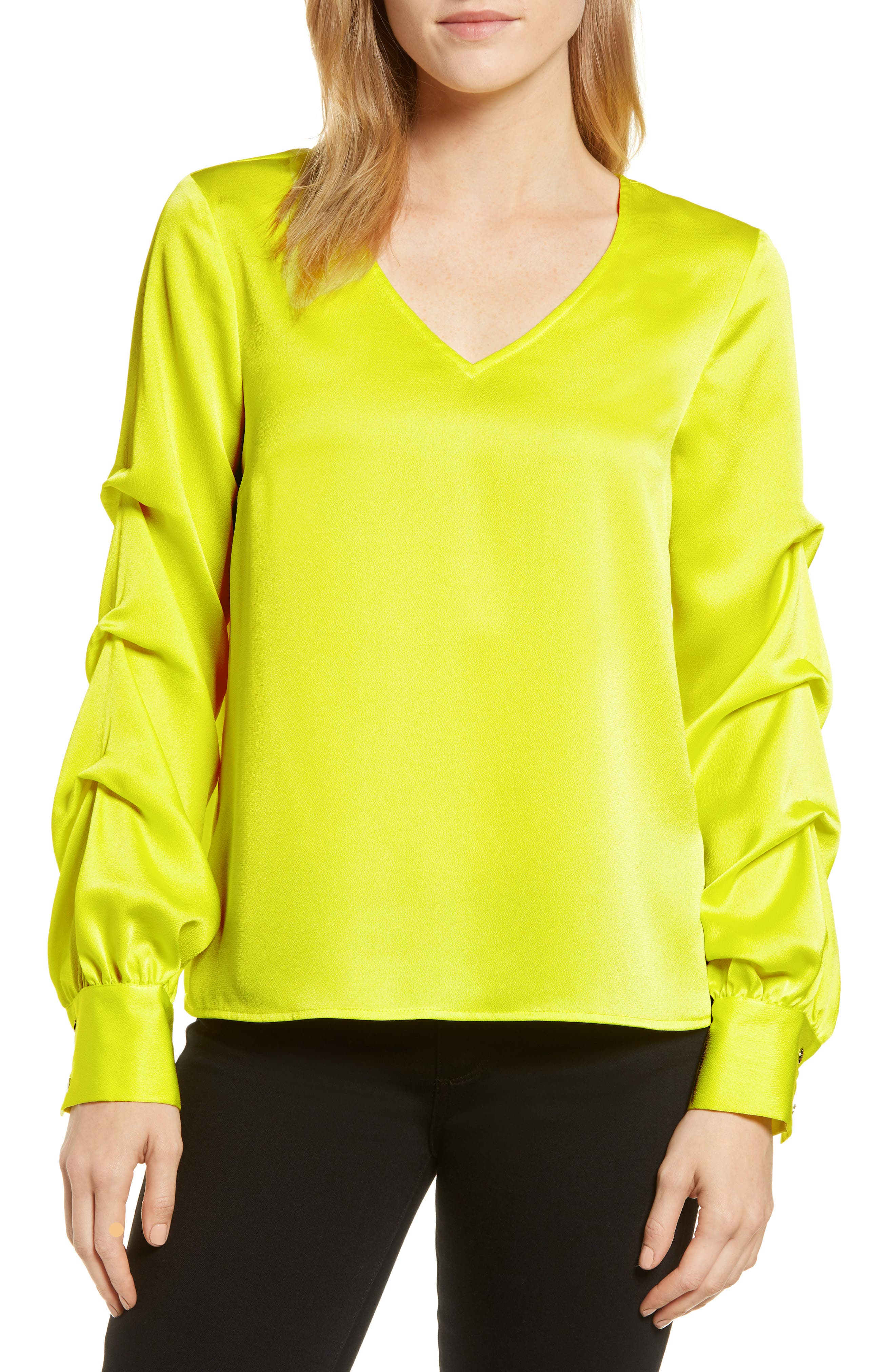 Satin Gathered Sleeve Blouse, Main, color, LIME BREEZE
