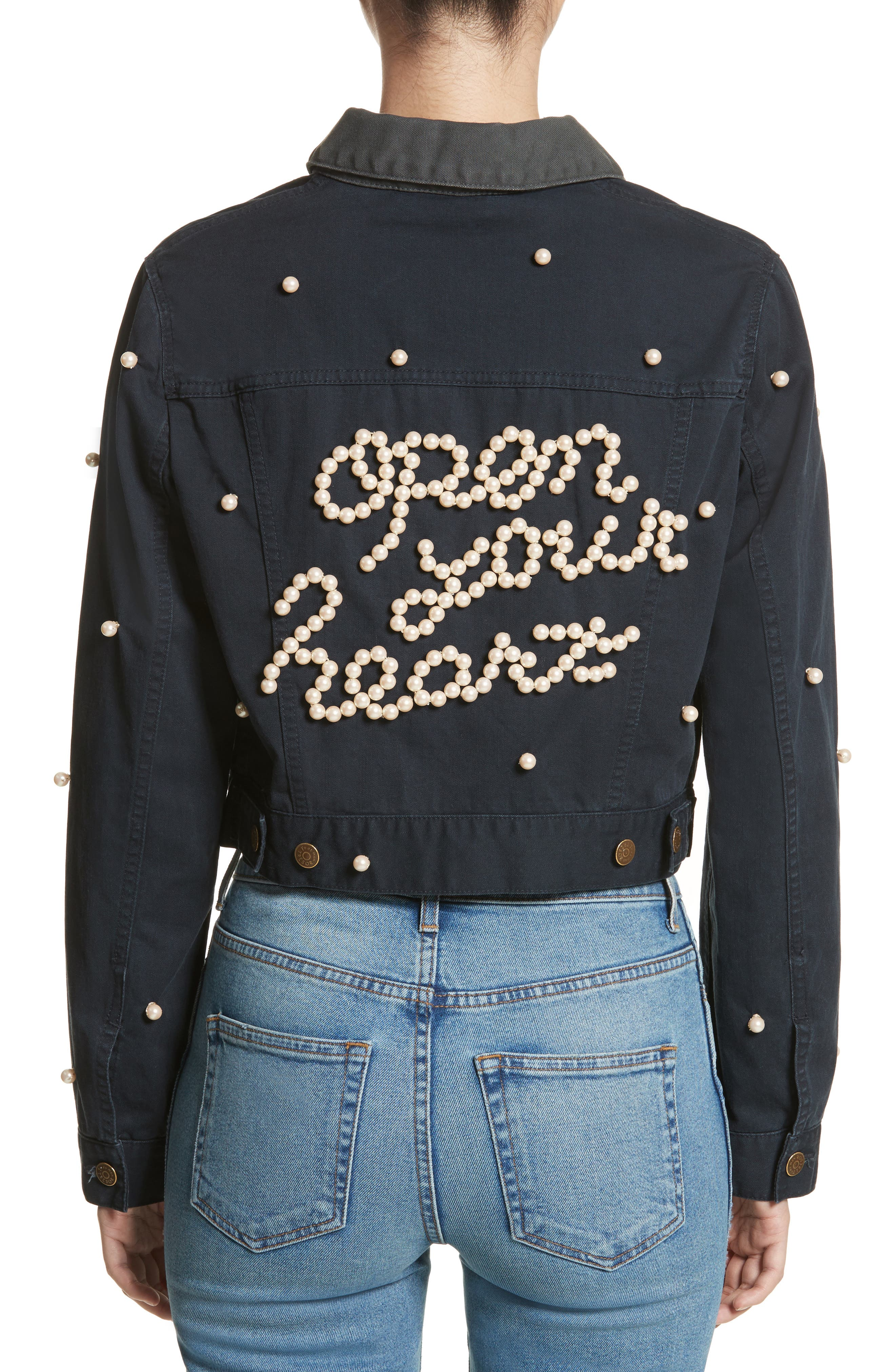 Open Your Heart Imitation Pearl Embellished Jacket,                             Alternate thumbnail 2, color,