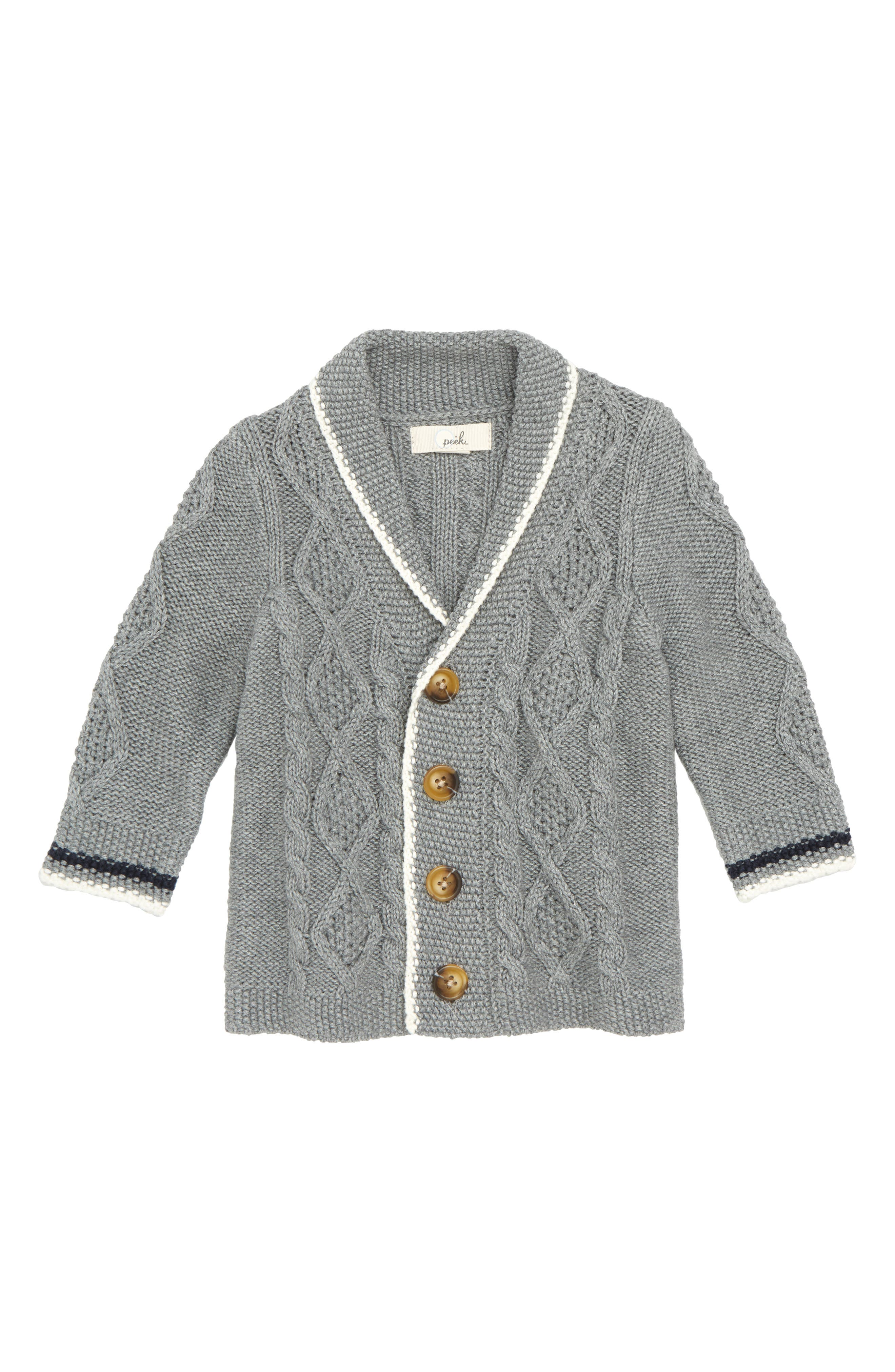 Peek Hugh Cable Knit Cardigan,                         Main,                         color, 020