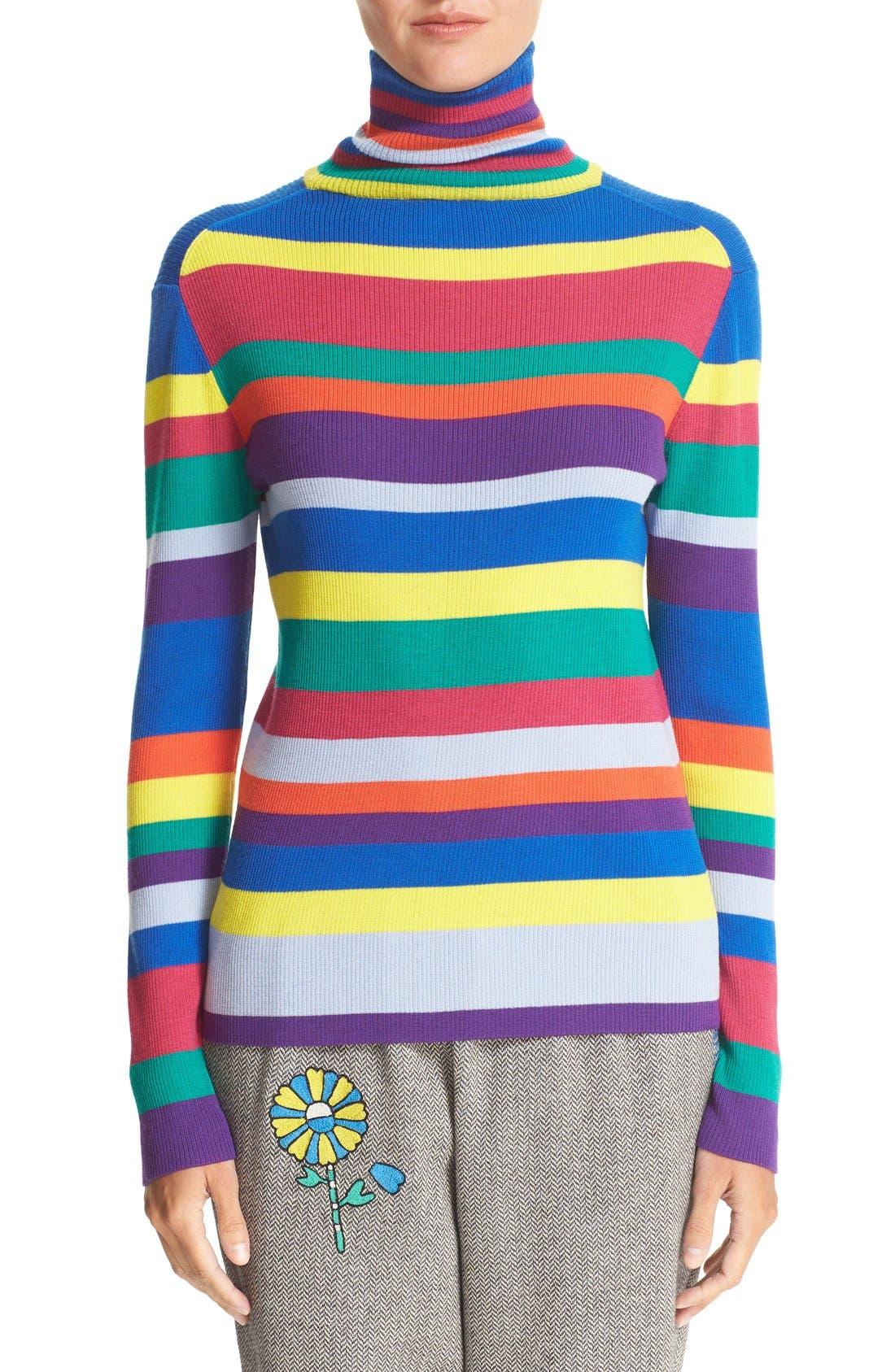 Stripe Merino Wool Turtleneck,                             Main thumbnail 1, color,                             960