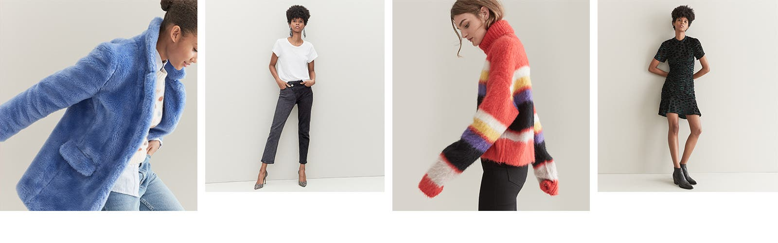 Plush coats. Reworked denim. Chunky knits. Dresses in unique fabrications.