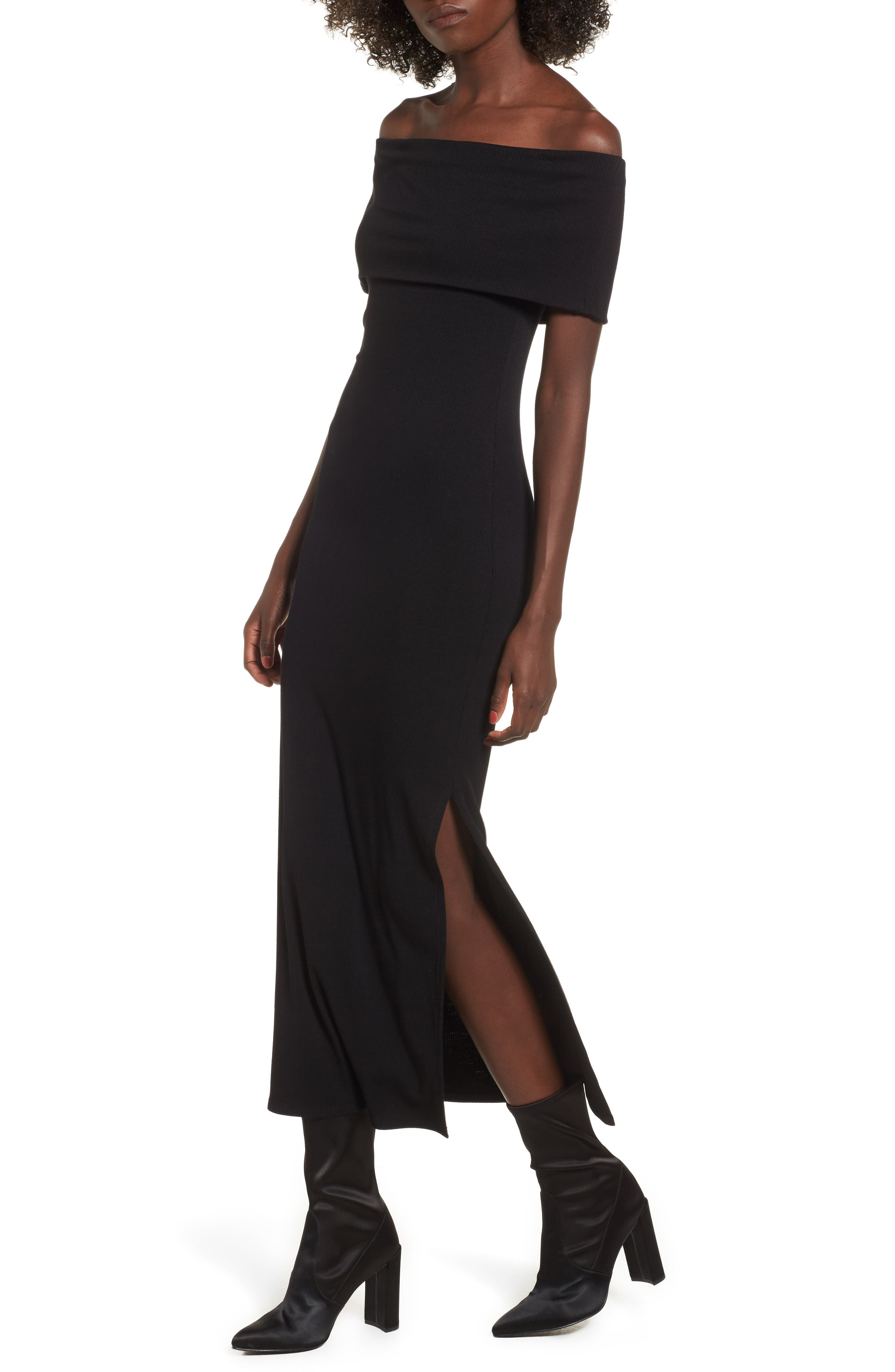 Foldover Off the Shoulder Ribbed Maxi Dress,                         Main,                         color, 001