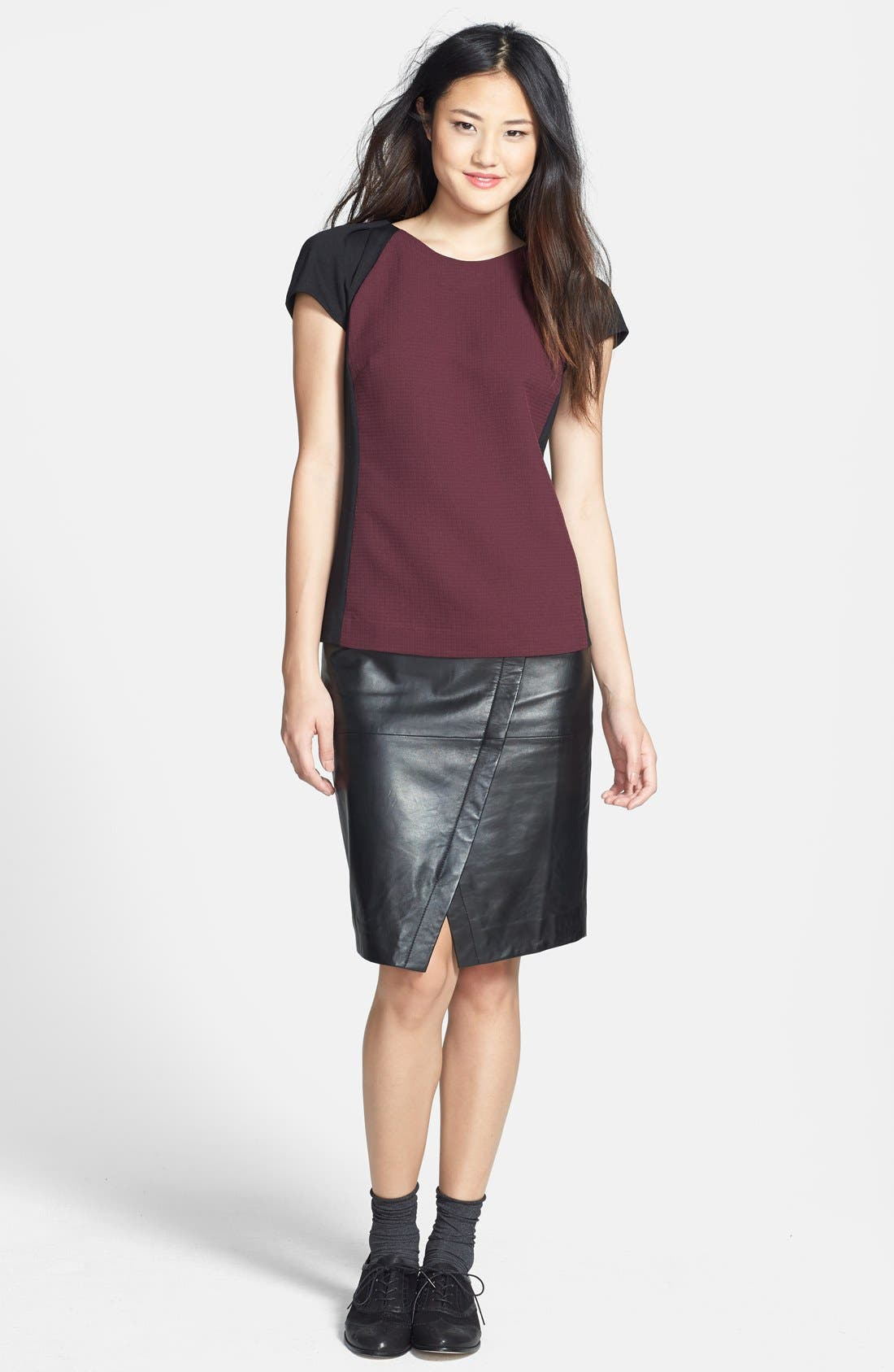 Seamed Leather Pencil Skirt,                             Alternate thumbnail 2, color,                             001