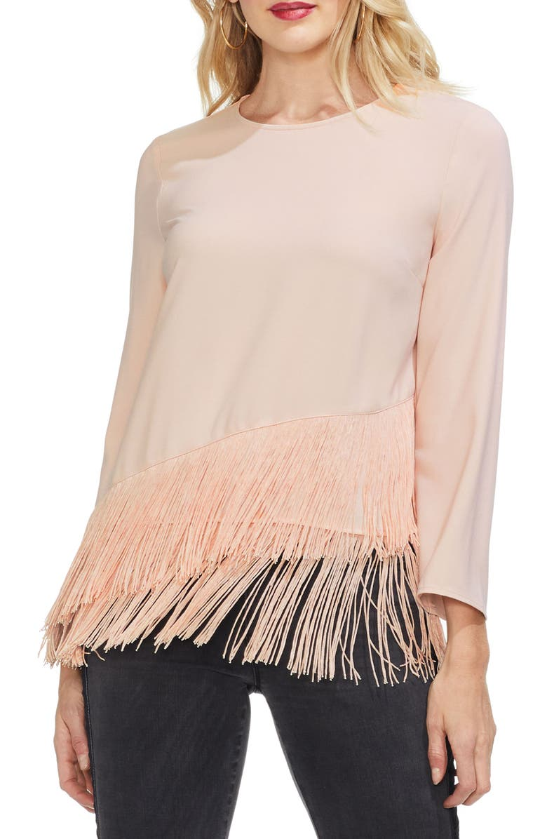 Tiered Fringe Top,                         Main,                         color, ROSE BUFF