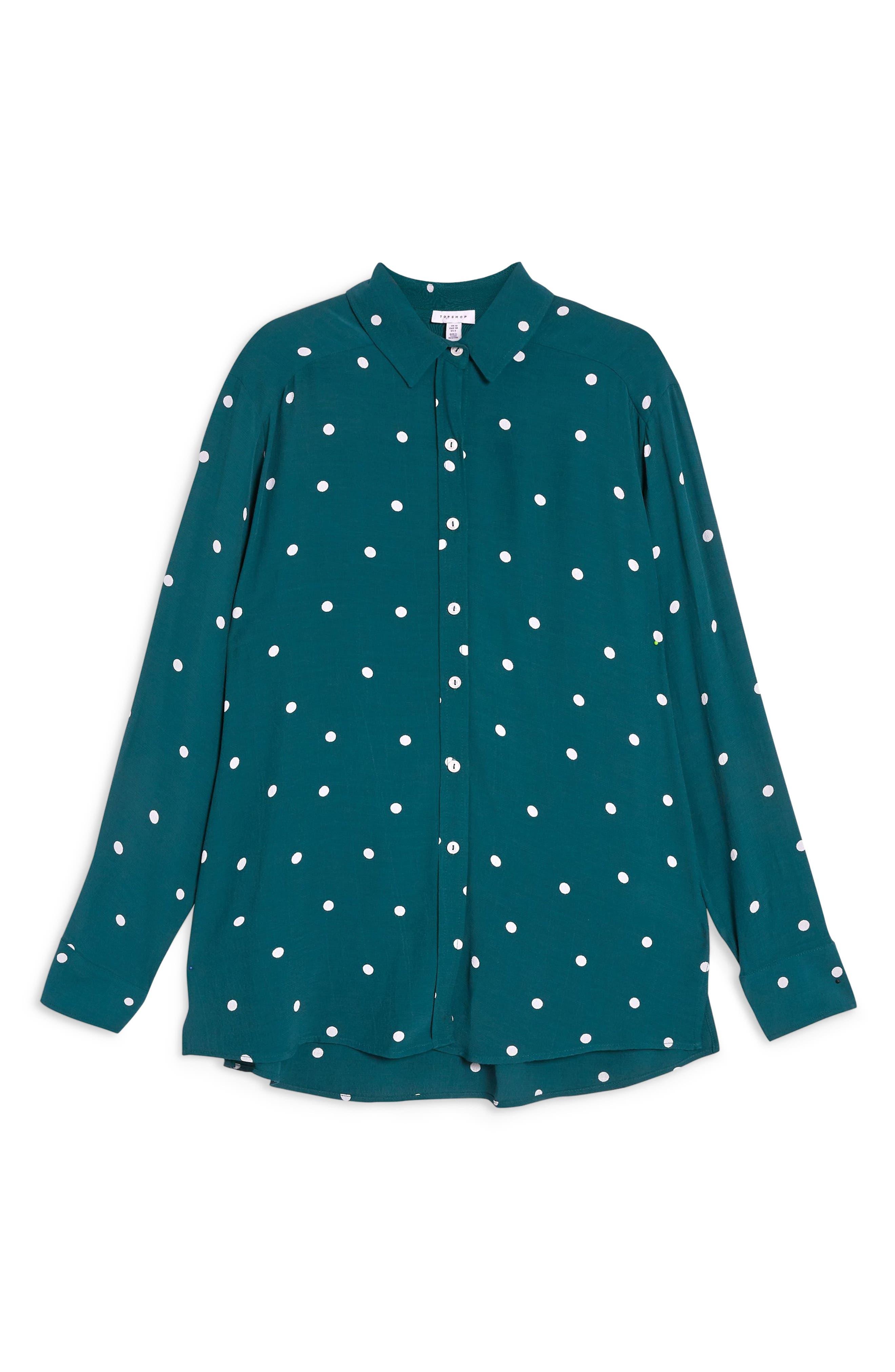 Oversize Spot Shirt,                             Alternate thumbnail 3, color,                             GREEN MULTI