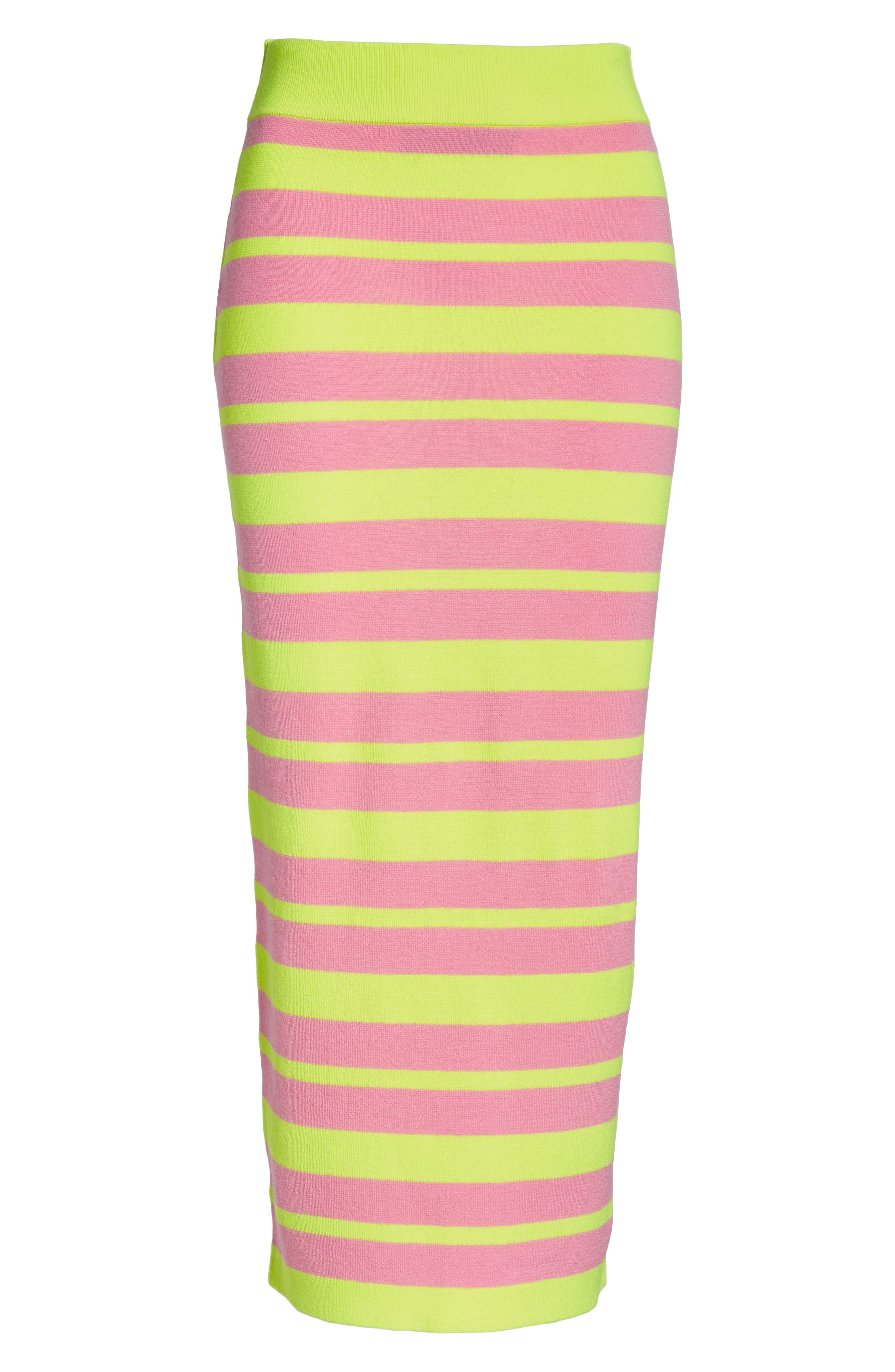 Stripe Knit Maxi Skirt,                             Alternate thumbnail 6, color,                             LIME AND PINK COMBO
