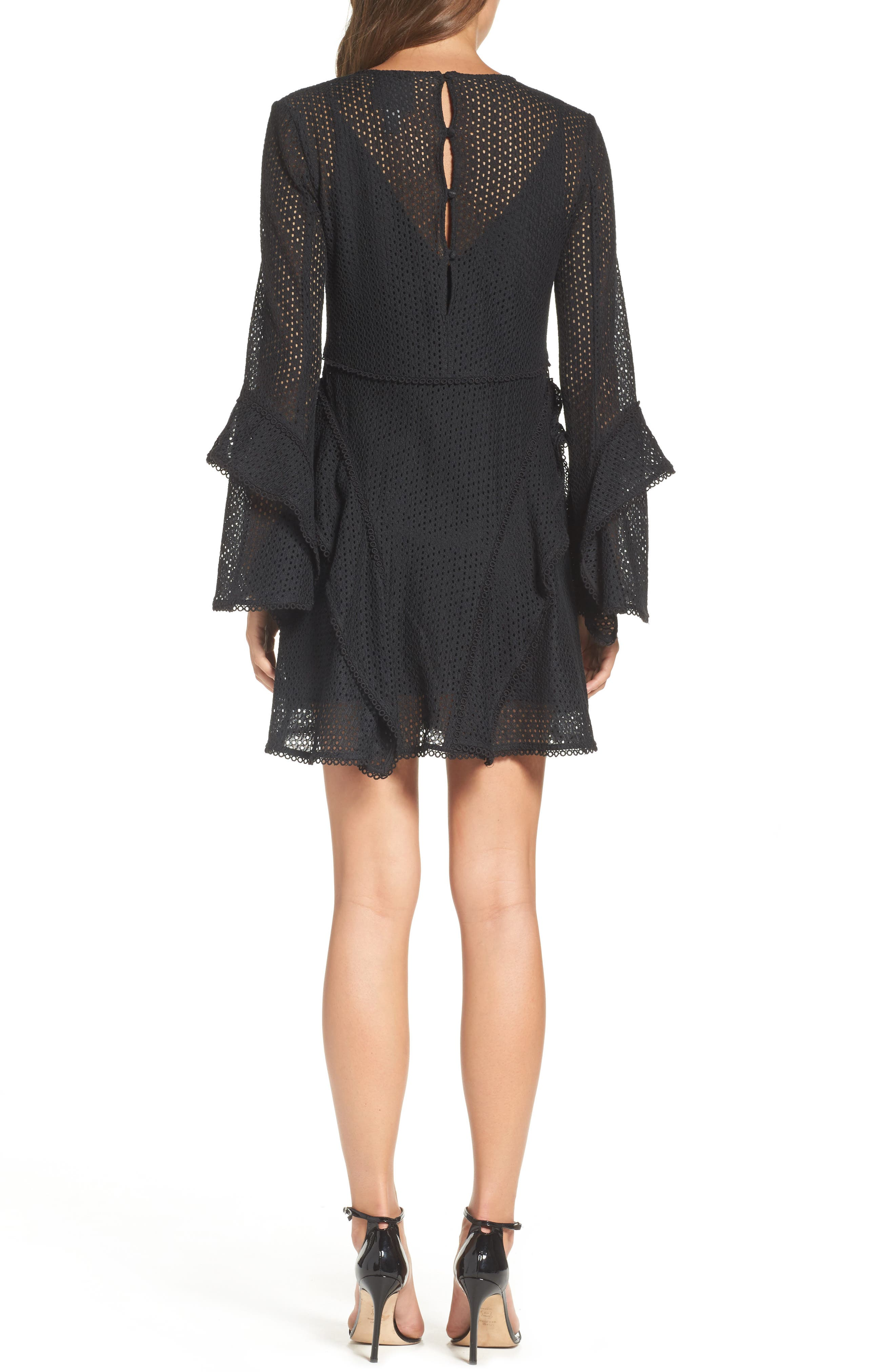 Aspire Lace Bell Sleeve Minidress,                             Alternate thumbnail 2, color,                             001