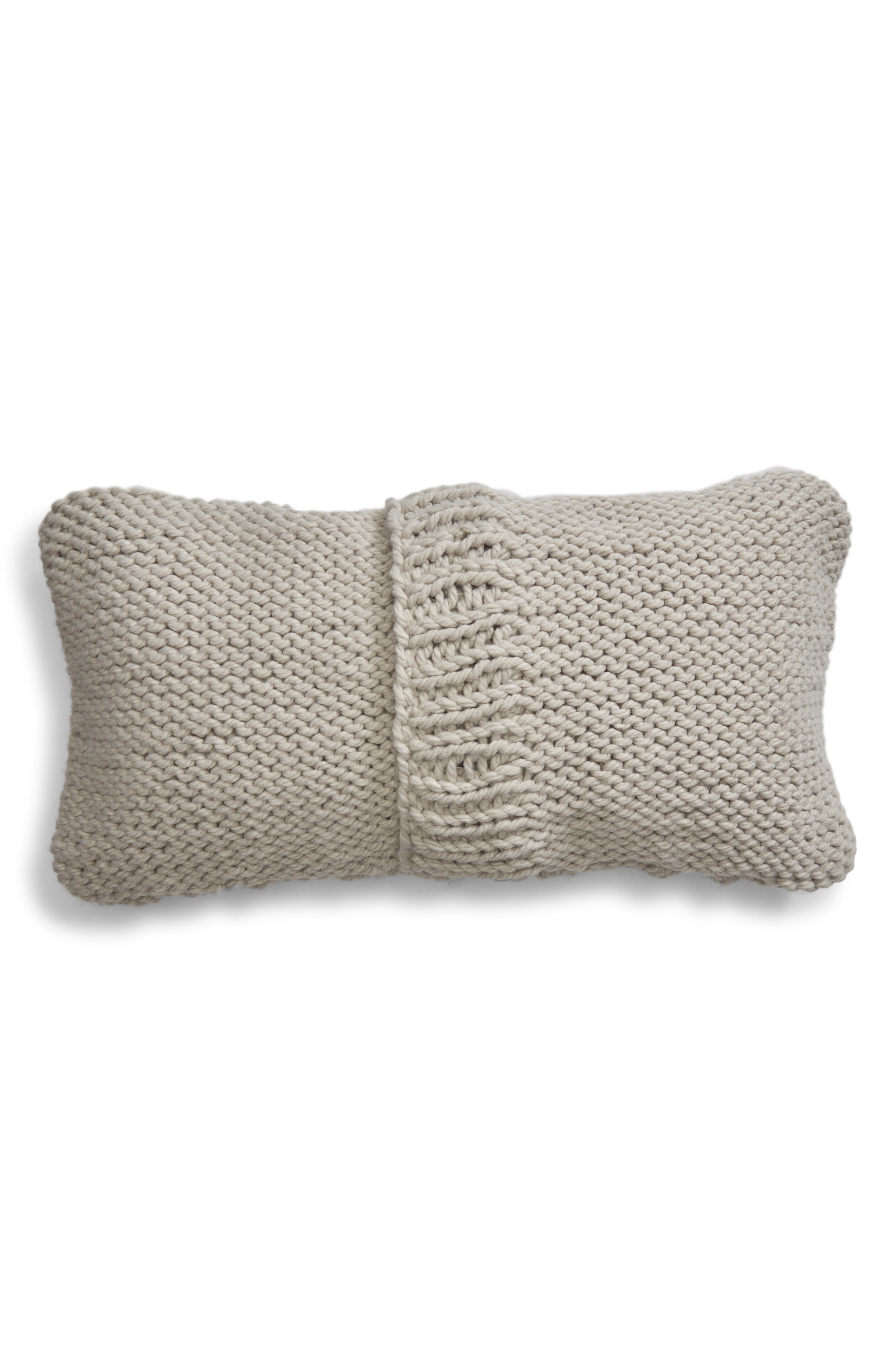 Chunky Cable Knit Accent Pillow,                             Alternate thumbnail 2, color,                             GREY VAPOR